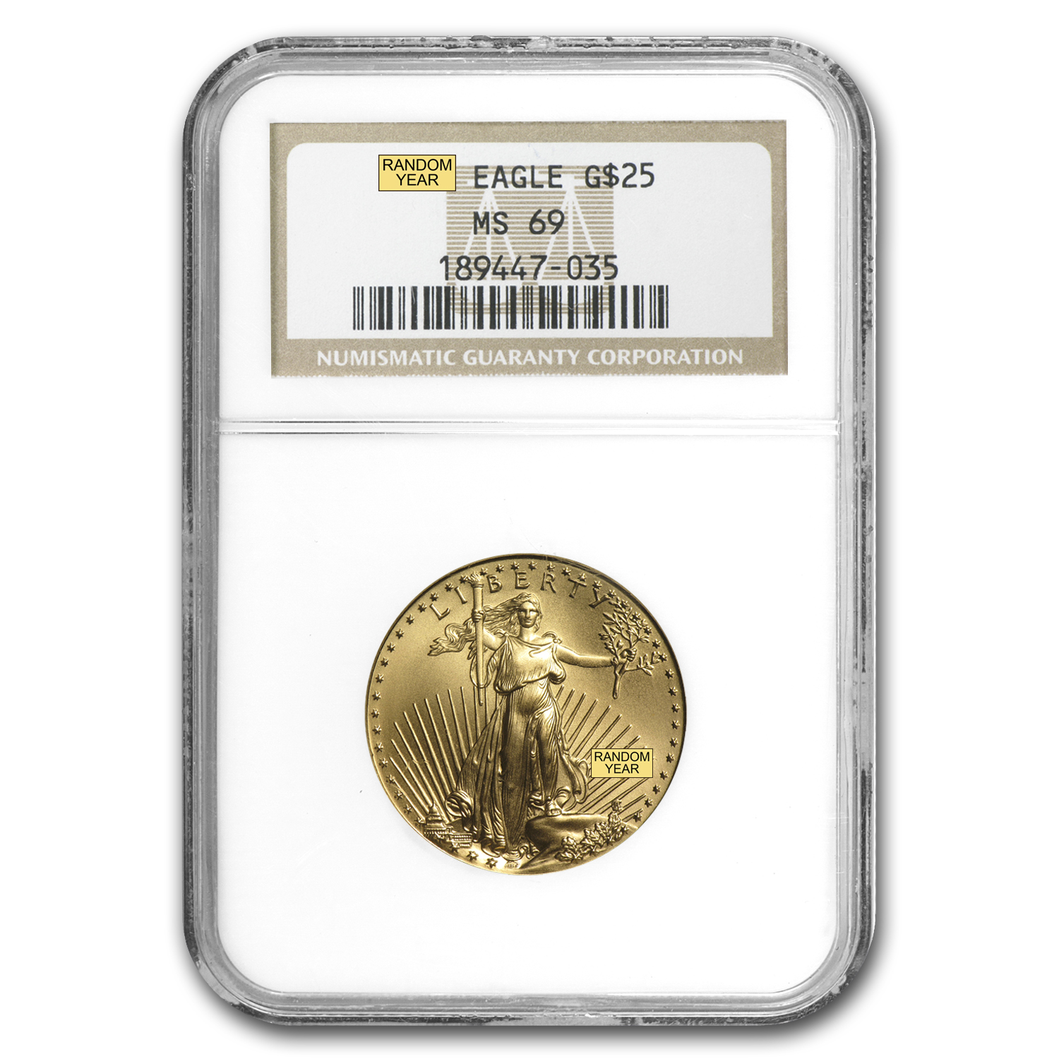 1/2 oz Gold American Eagle MS-69 NGC (Random Year)