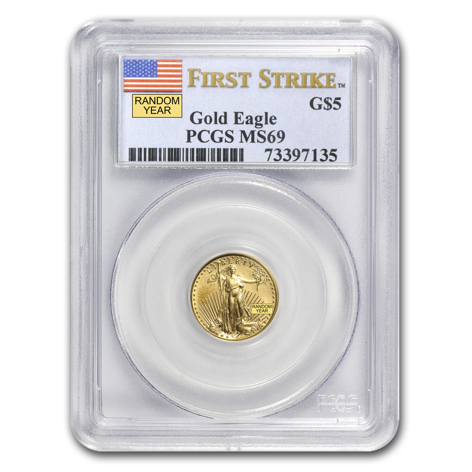 1/10 oz Gold American Eagle MS-69 PCGS (Random Year)