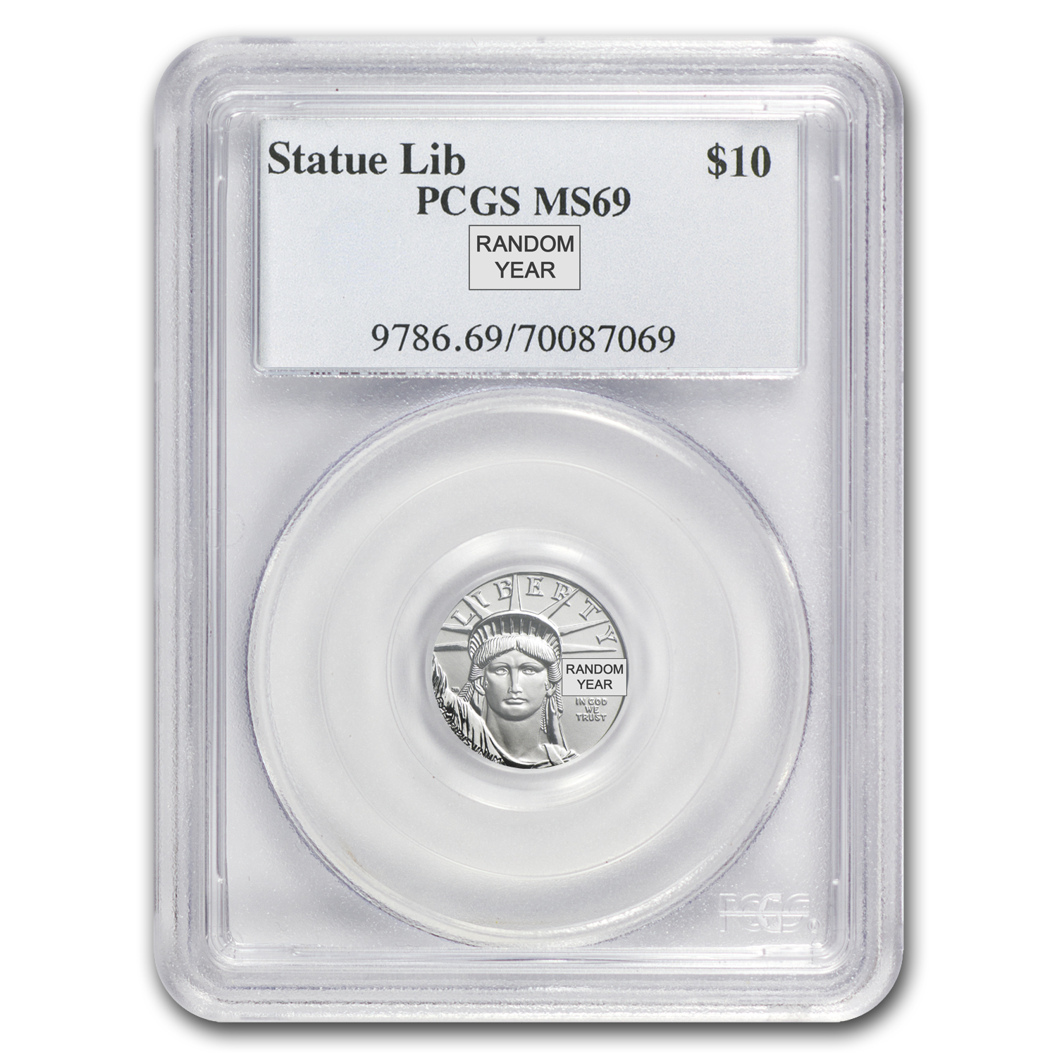 1/10 oz Platinum American Eagle MS-69 PCGS (Random Year)