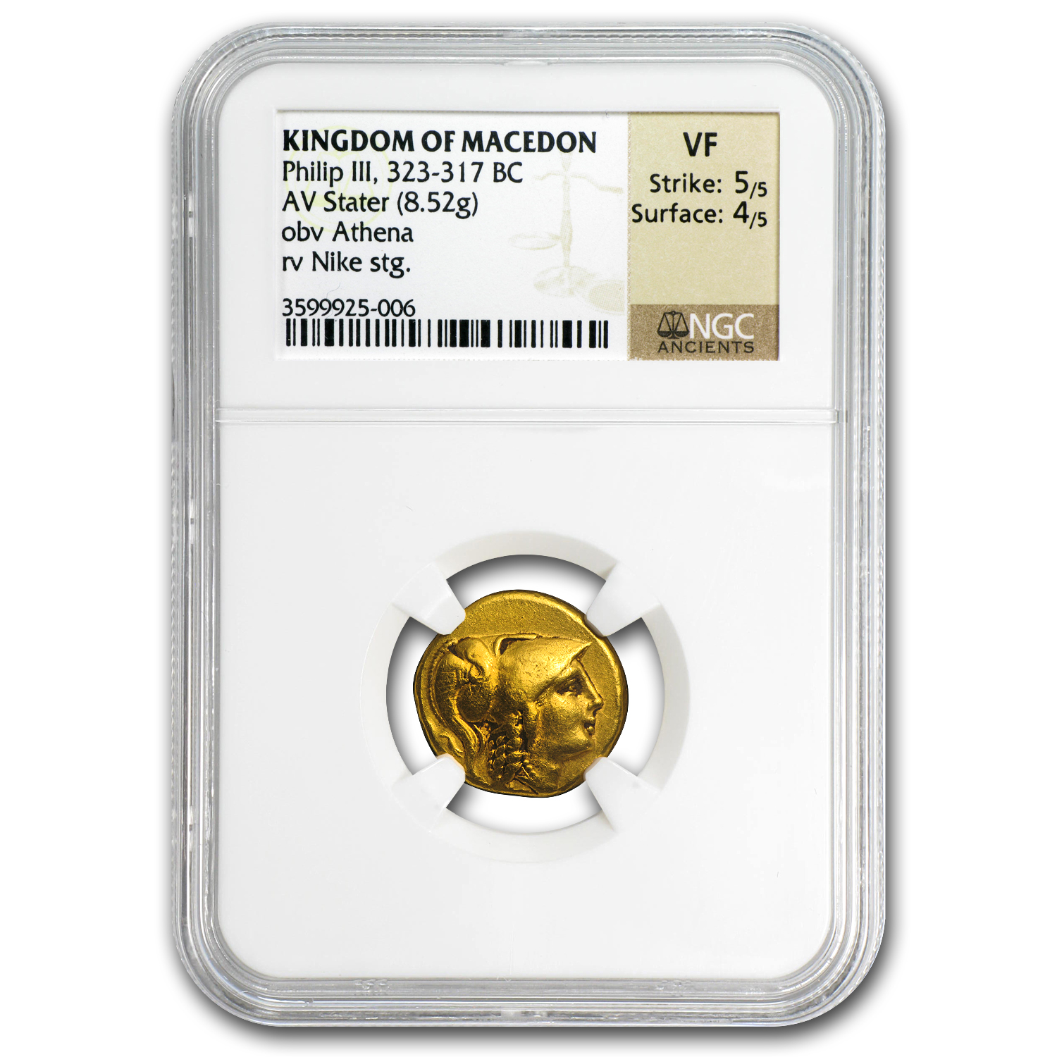 Macedonia Gold Stater of Philip III (323-317BC) VF NGC