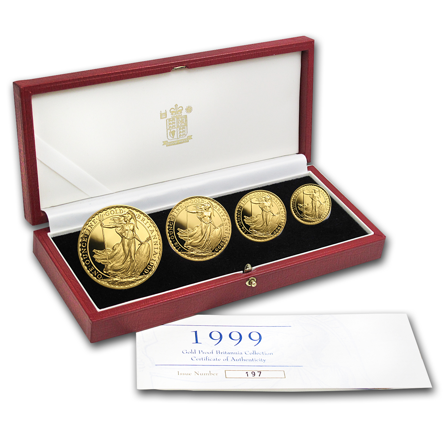 1999 4-Coin Gold Britannia Proof Set (w/Box & COA)