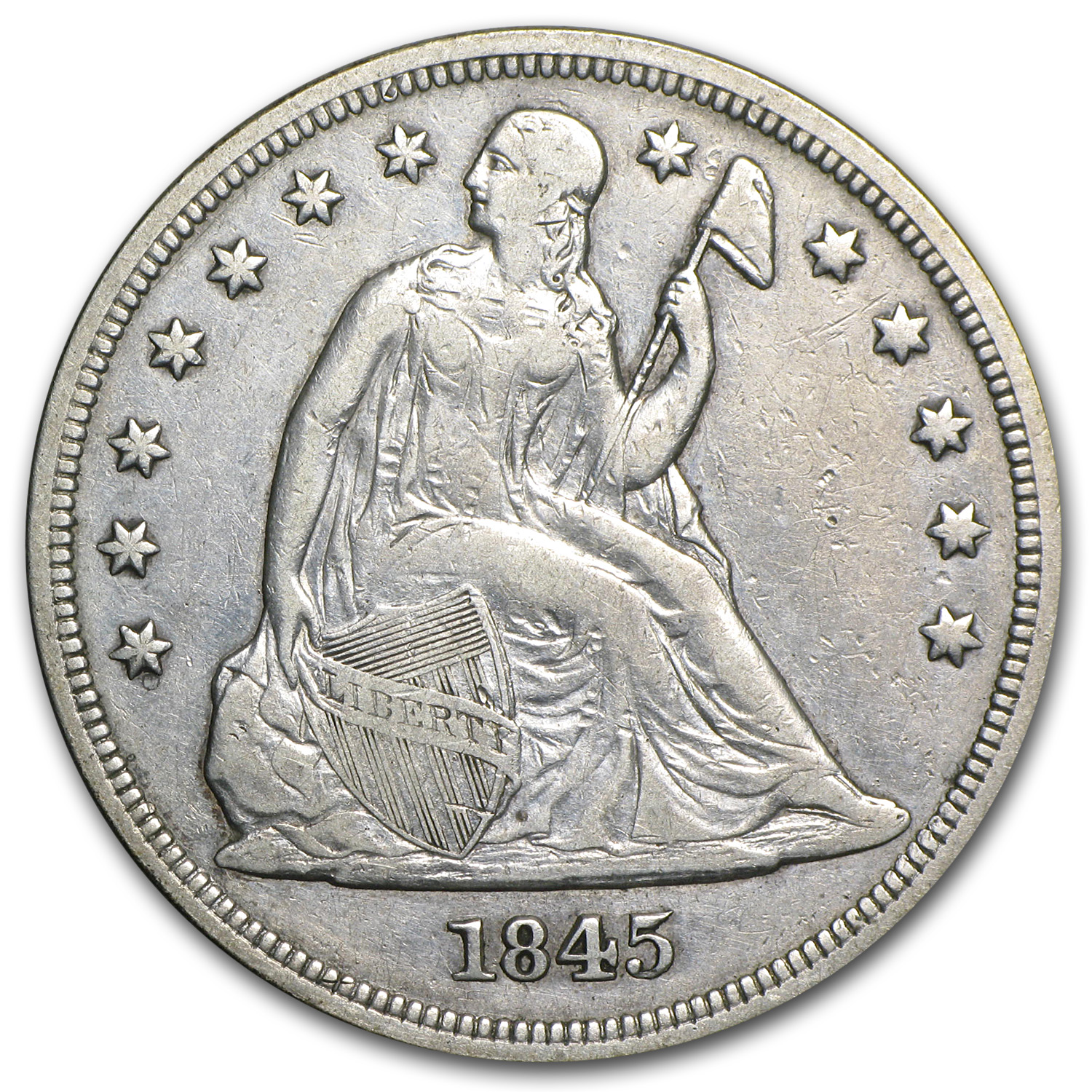 1845 Liberty Seated Dollar XF