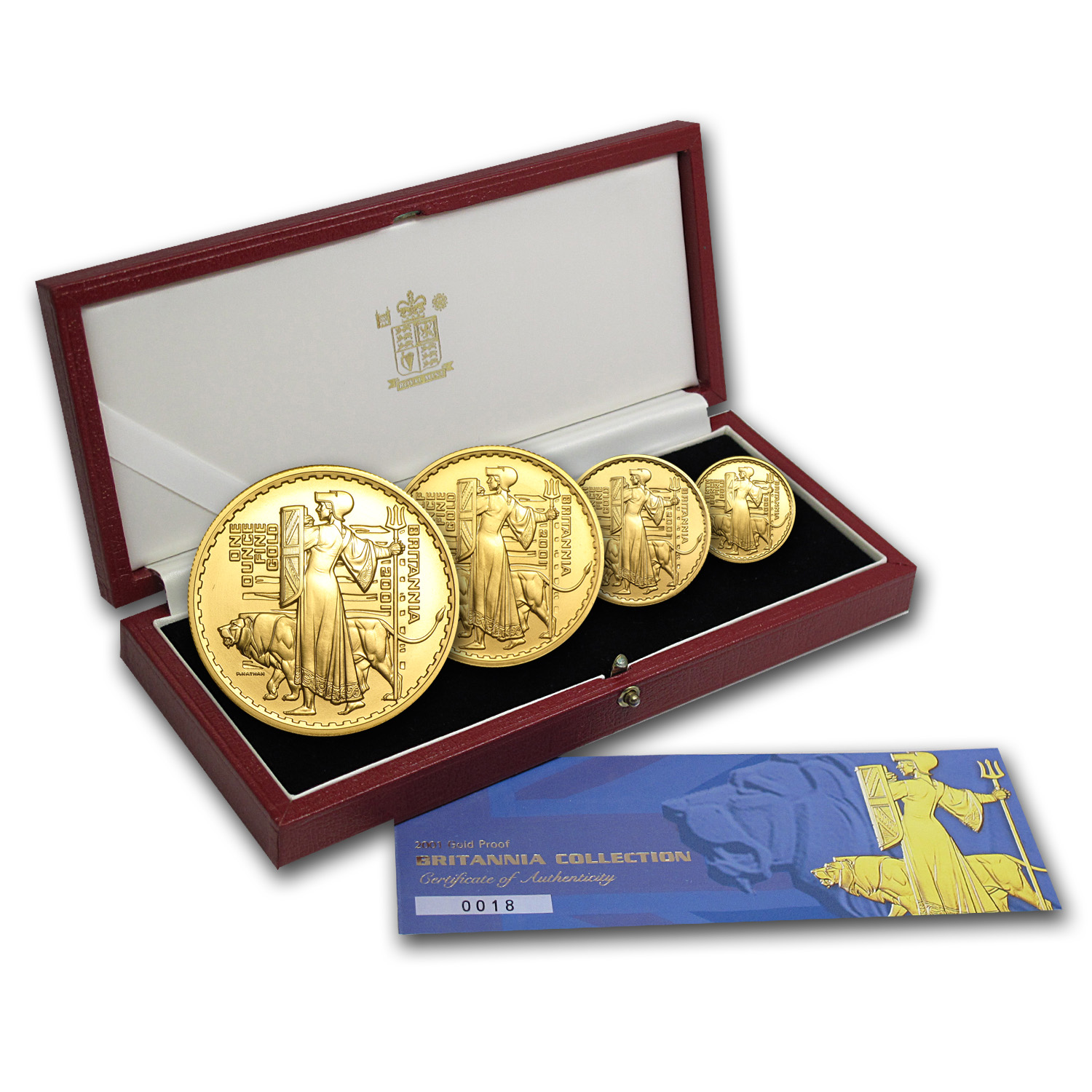 2001 4-Coin Gold Britannia Proof Set (w/Box & COA)