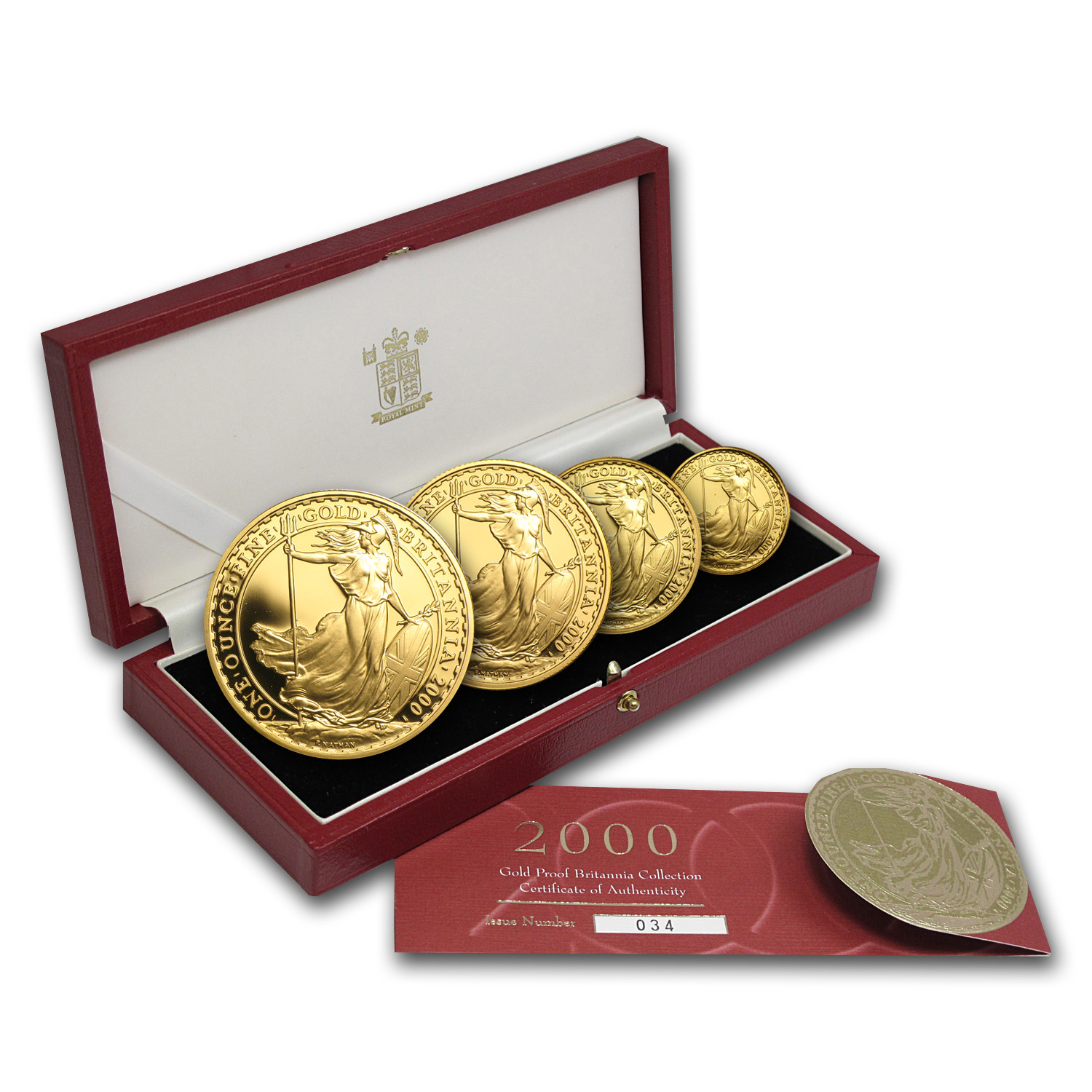 2000 4-Coin Gold Britannia Proof Set (w/Box & COA)
