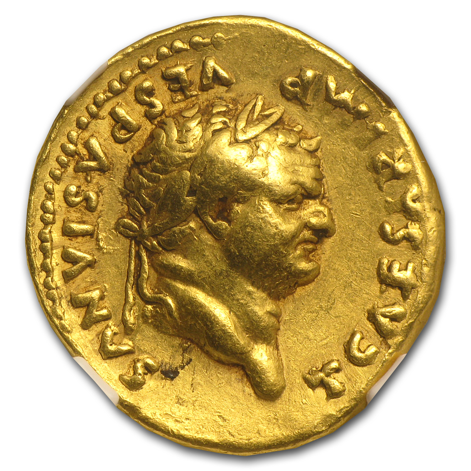 Roman Empire Gold Aureus of Emperor Titus Ch VF NGC (79-81 AD)