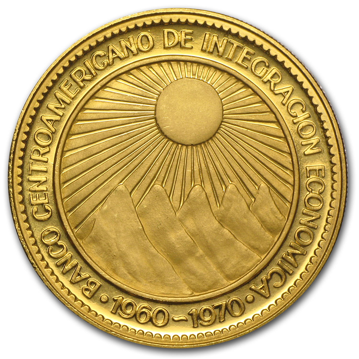 Central America Gold 50 Pesos Economic Integration (AGW .5787)