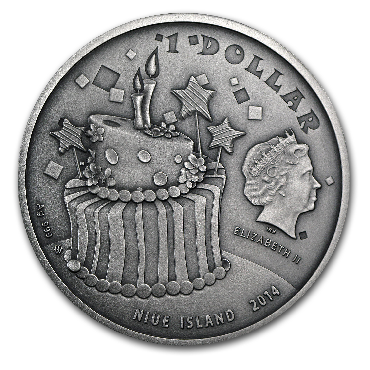 2014 Niue 1 oz Silver Happy Birthday (Antique Finish)