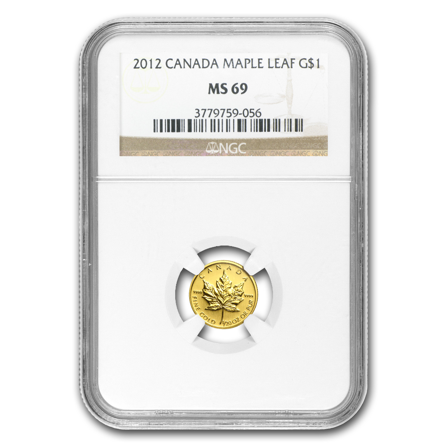 2012 1/20 oz Gold Canadian Maple Leaf MS-69 NGC