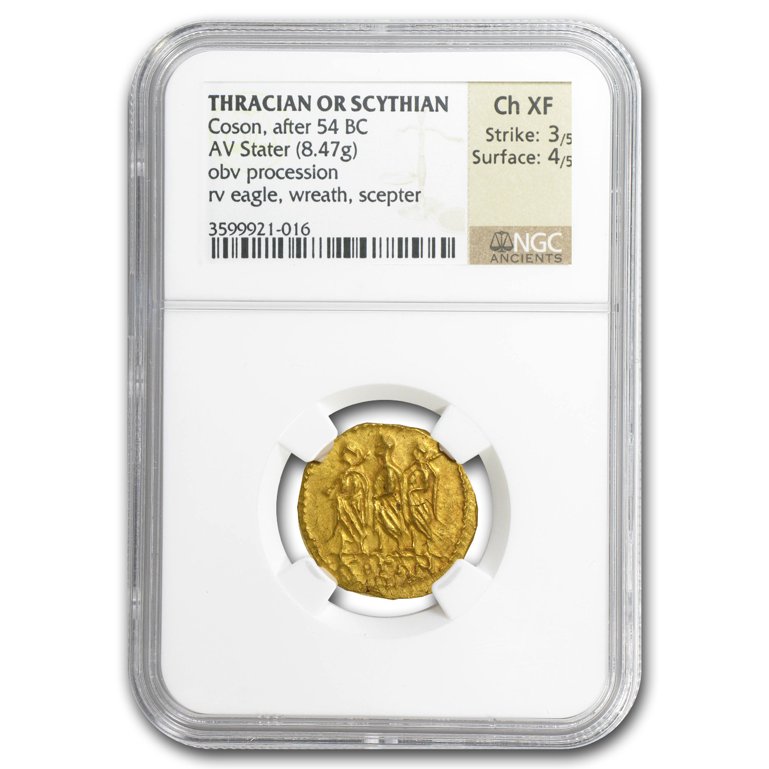 Thracian/Scythian Gold Stater Ch XF NGC (1st Century BC)