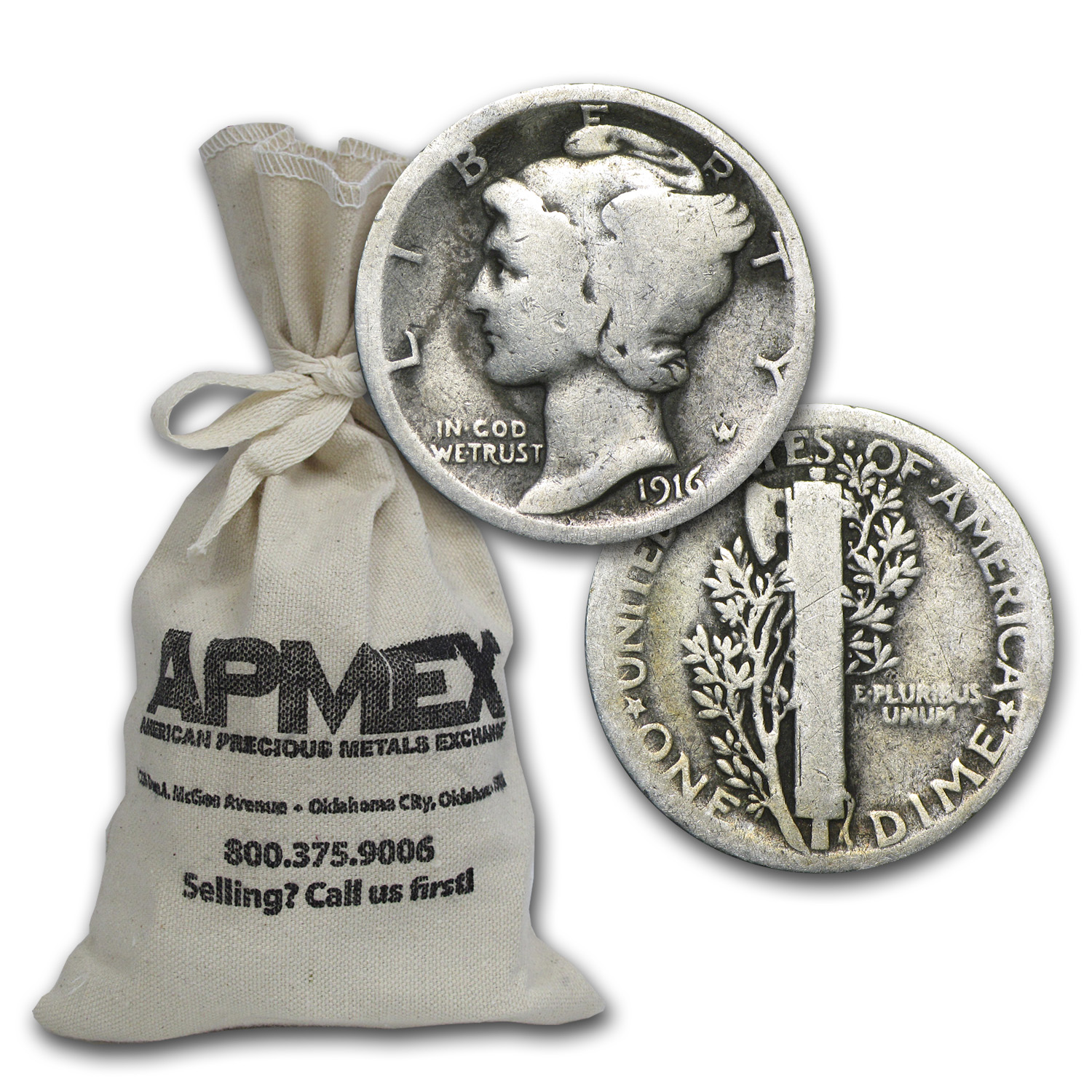90% Silver 1916-P & S Mercury Dimes $100 Face-Value Bag
