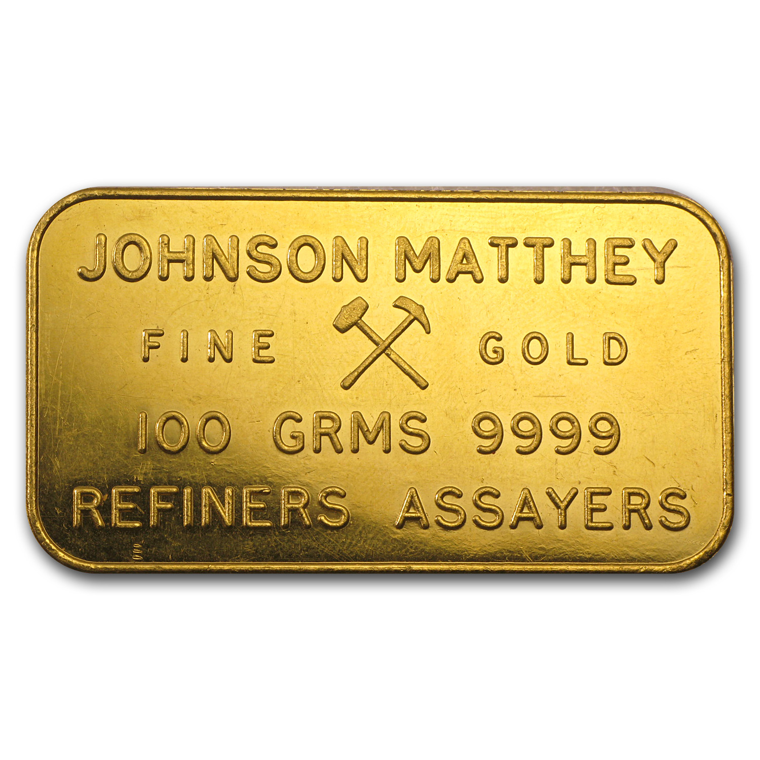 100 gram Gold Bar - Johnson Matthey-London (Pressed)