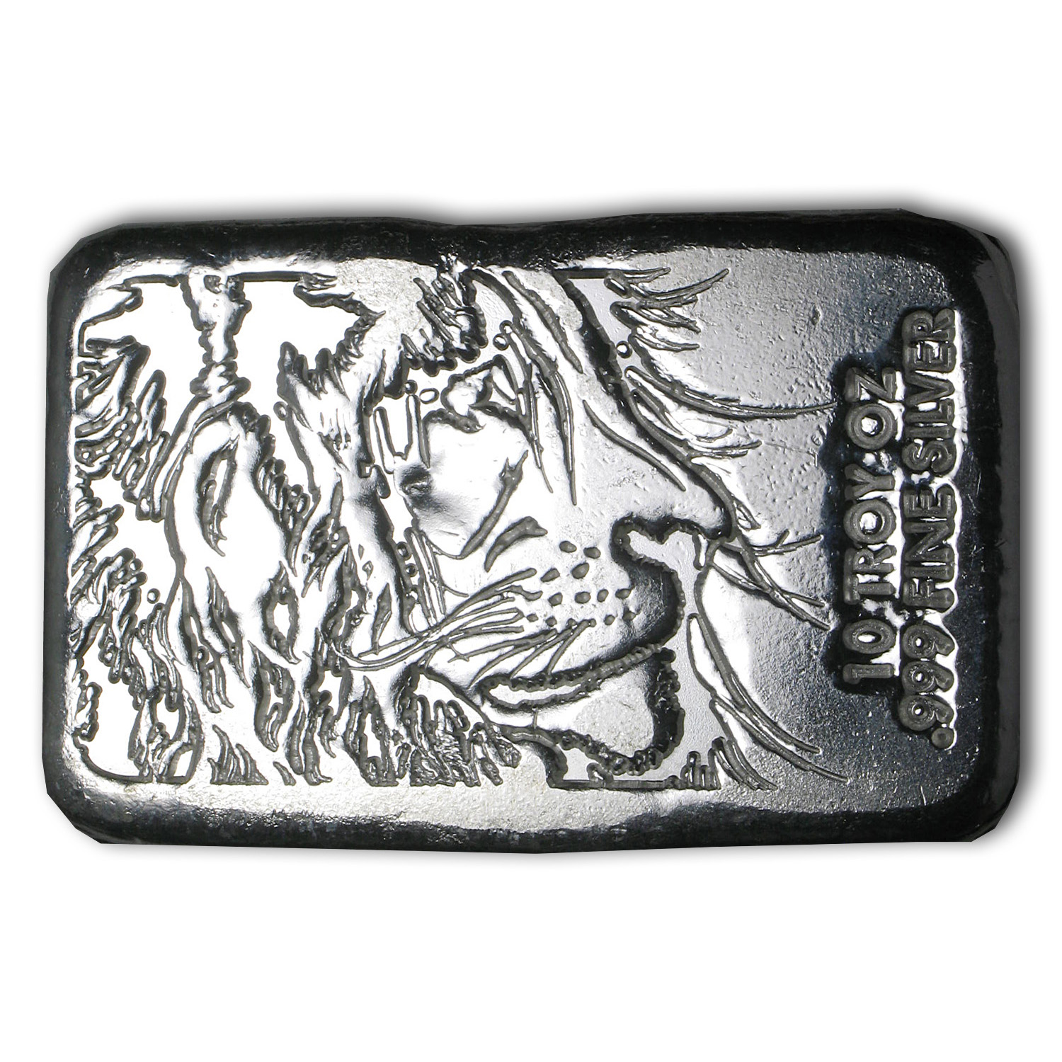 10 oz Silver Bar - Lion (Atlantis Mint)