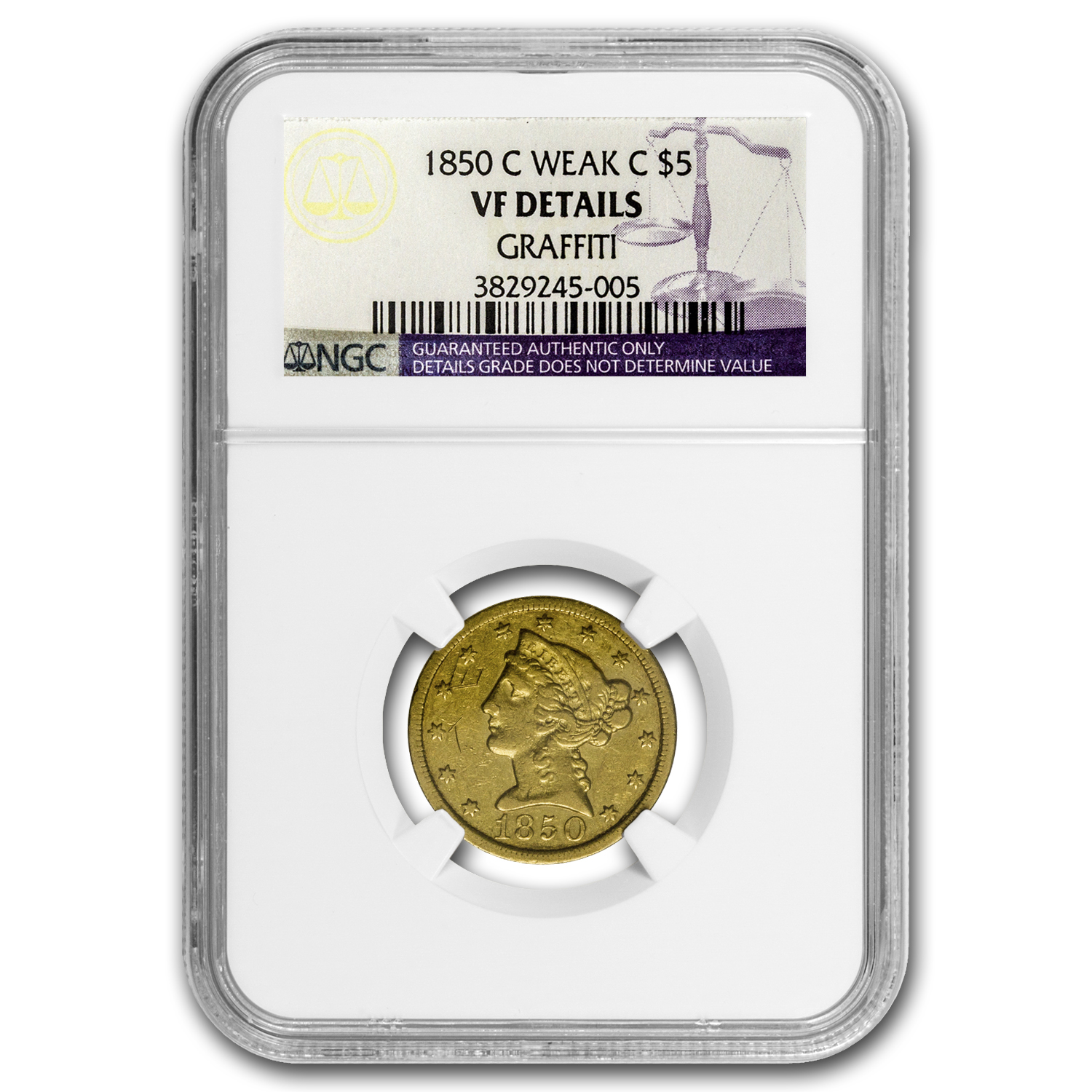 1850-C $5 Liberty Gold Half Eagle - VF Details NGC (Graffiti)