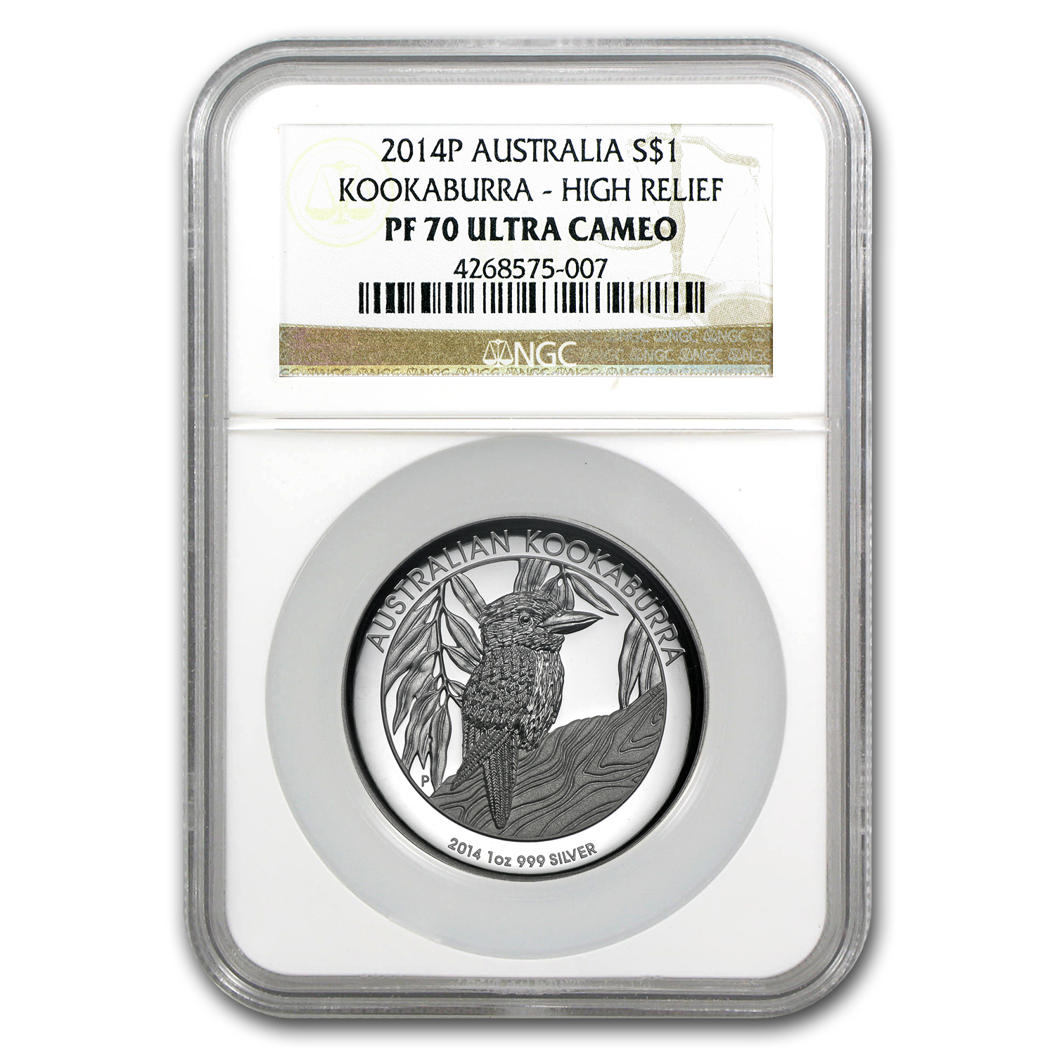 2014 1oz Proof Silver Australian High Relief Kookaburra PF-69 NGC