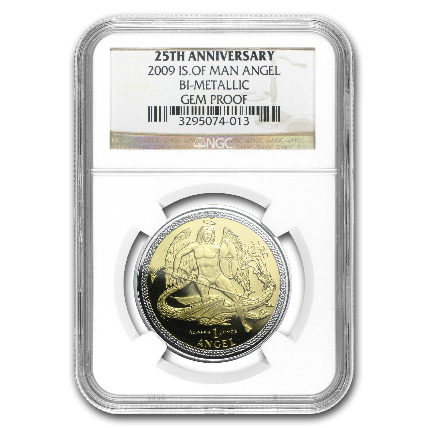 2009 Isle of Man Bi-Metallic Angel 25th Anniv Gem Proof NGC