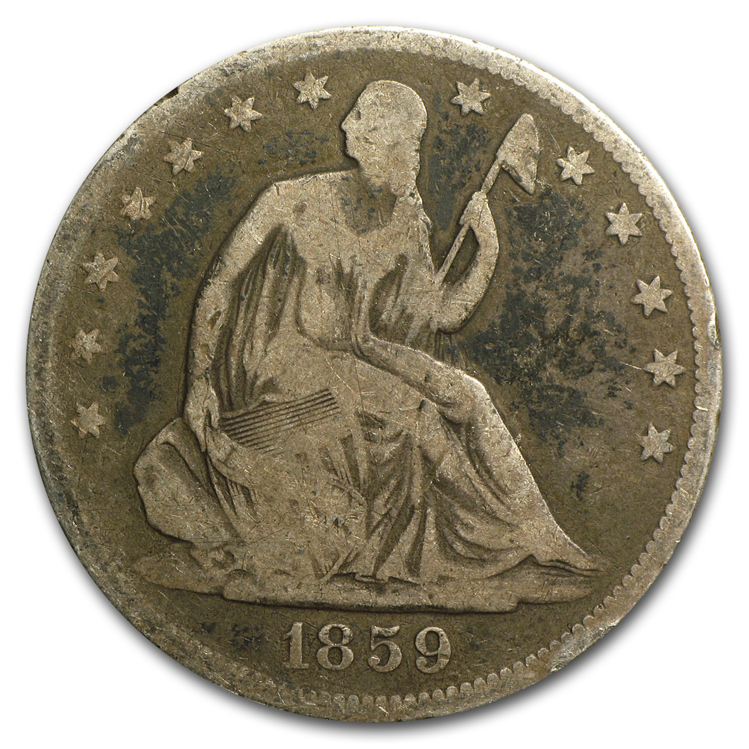 1859 Liberty Seated Half Dollar VG