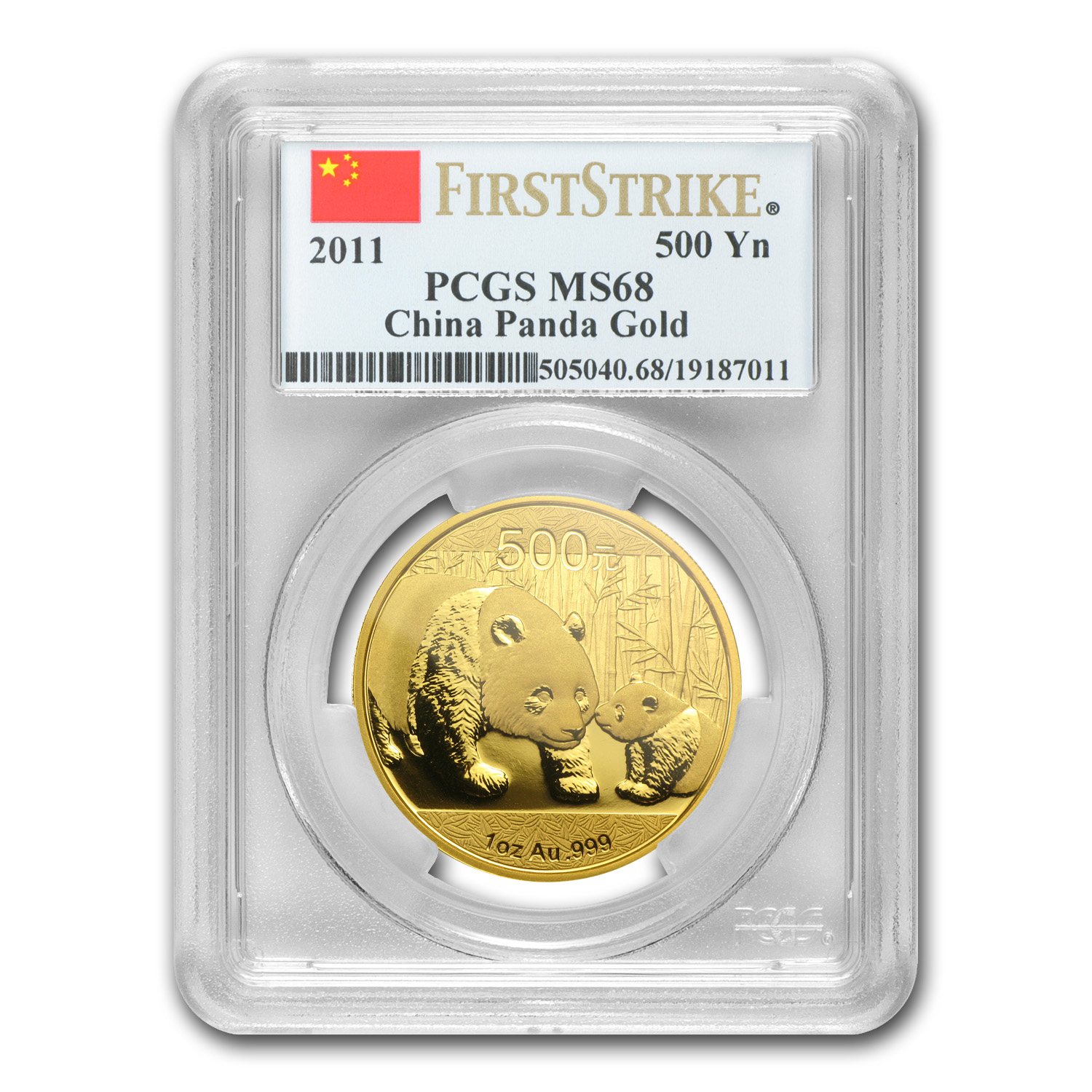 2011 China 1 oz Gold Panda MS-68 PCGS (FS)