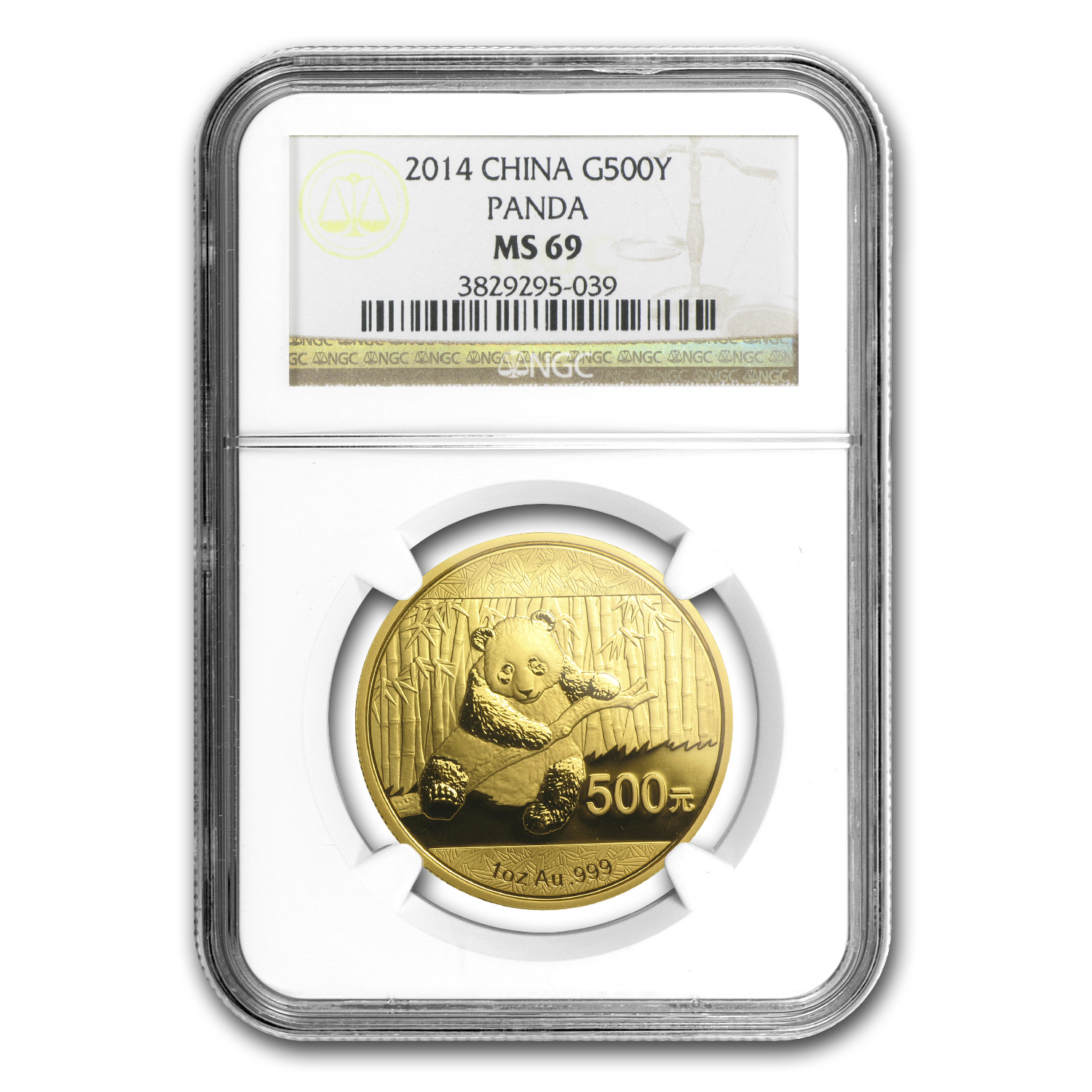 2014 China 1 oz Gold Panda MS-69 NGC