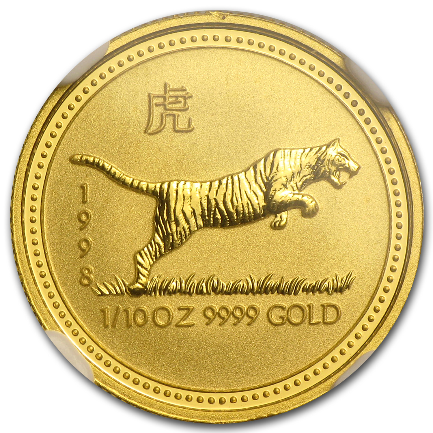 1998 1/10 oz Gold Lunar Year of the Tiger MS-68 NGC (Series I)