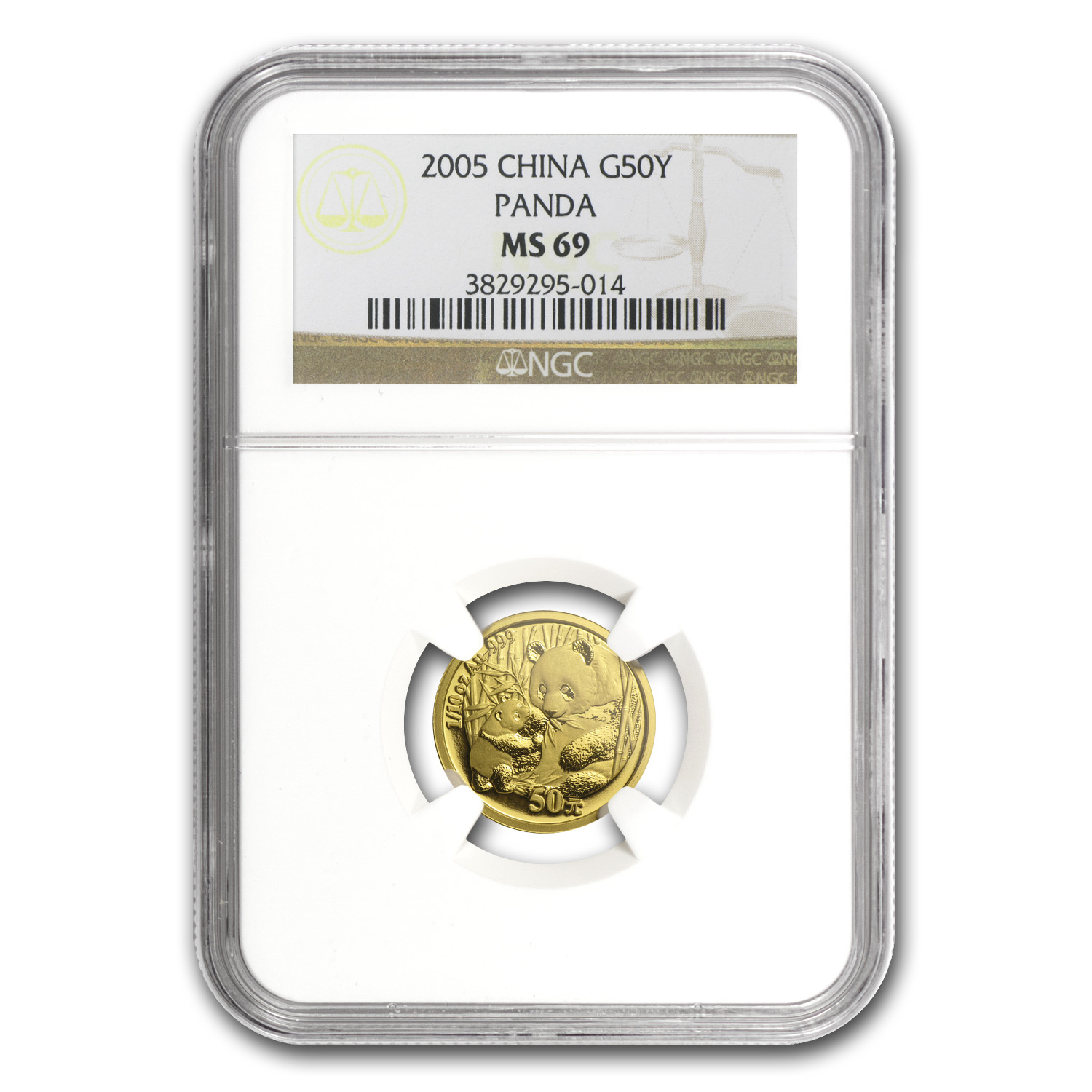 2005 China 1/10 oz Gold Panda MS-69 NGC