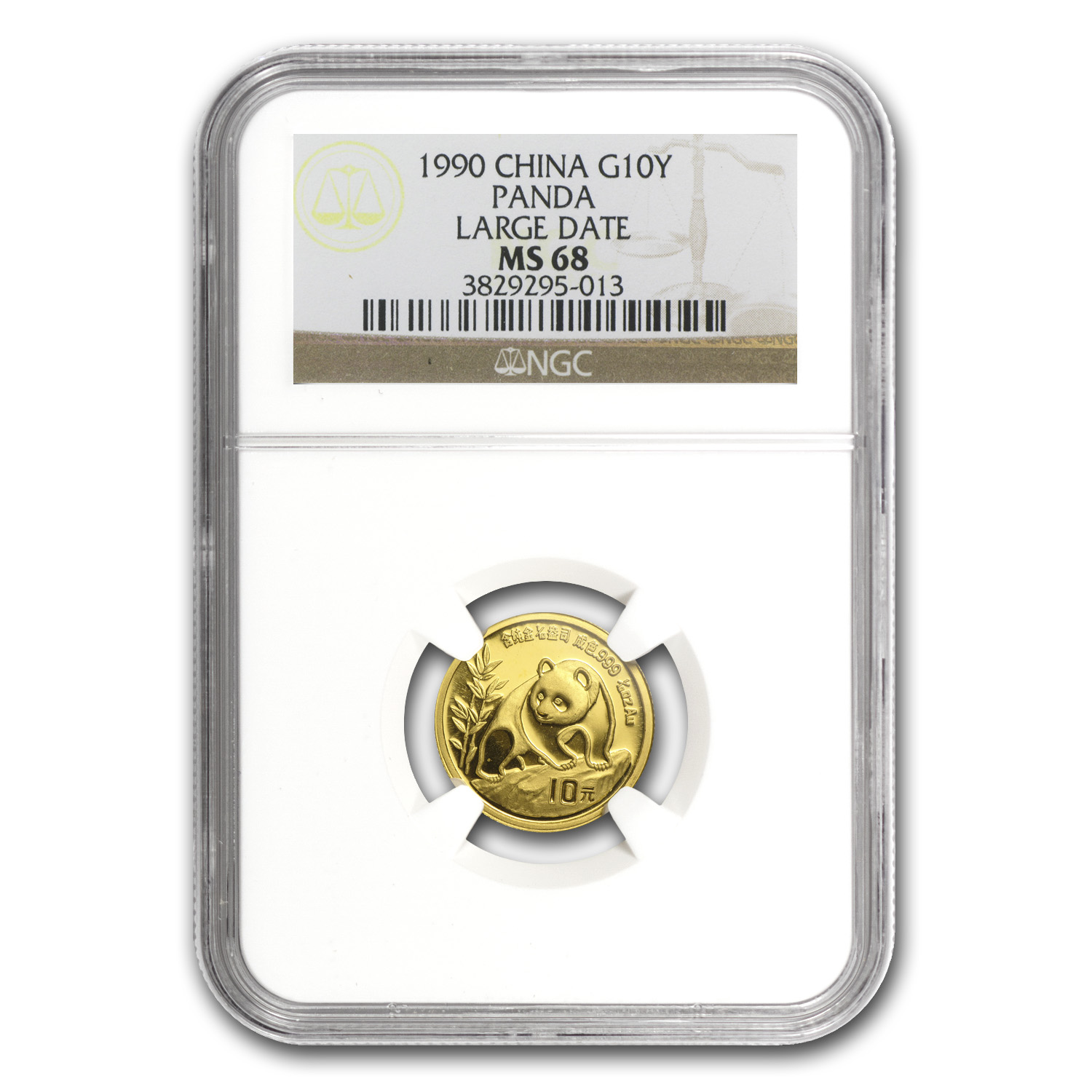 1990 (1/10 oz) Gold Chinese Pandas Large Date - MS-68 NGC