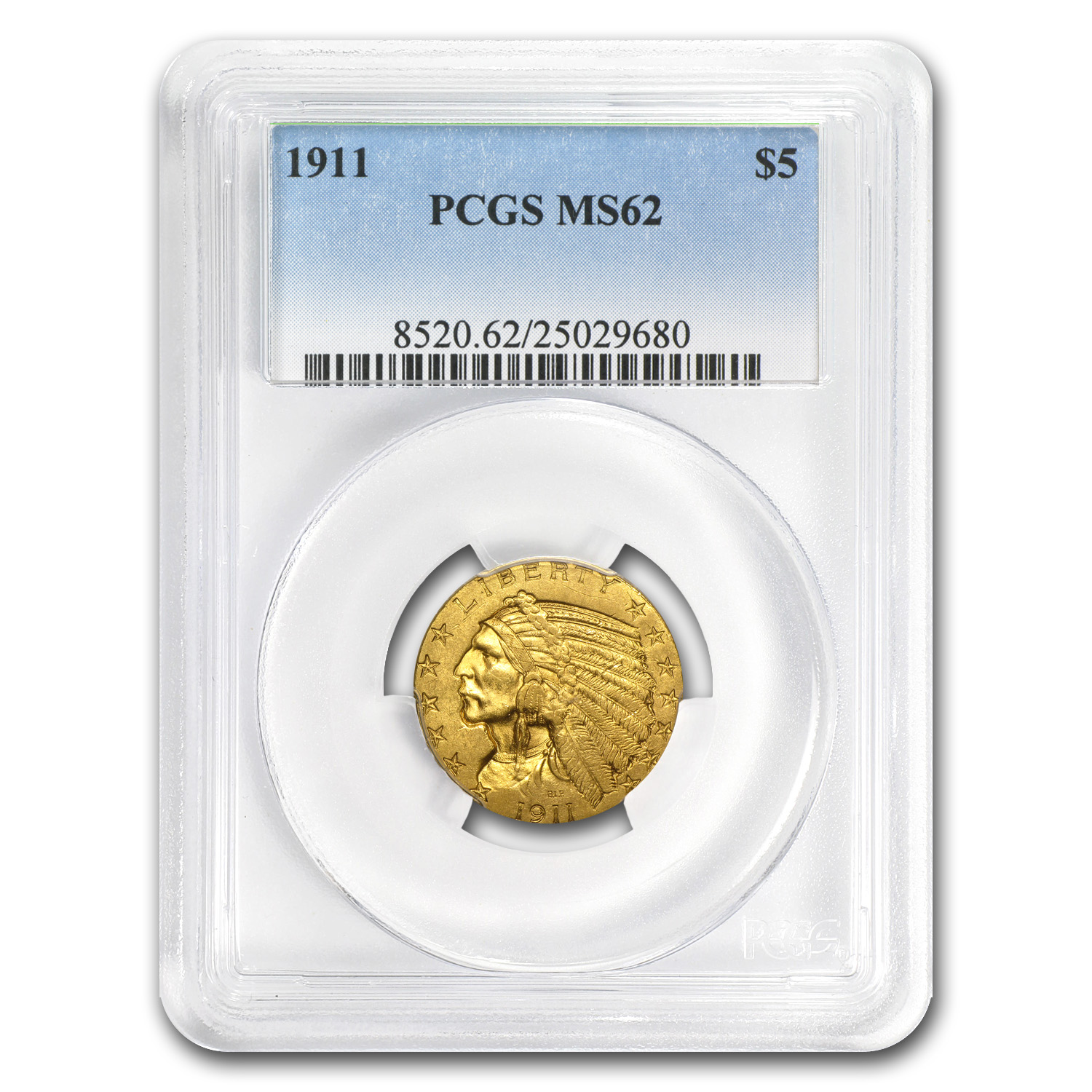 $5 Indian Gold Half Eagle Date Set - MS-62 PCGS 1909-1913