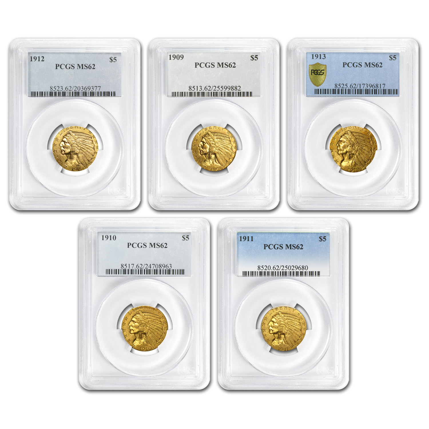 1909-1913 5-Coin $5 Indian Gold Half Eagle Set MS-62 PCGS