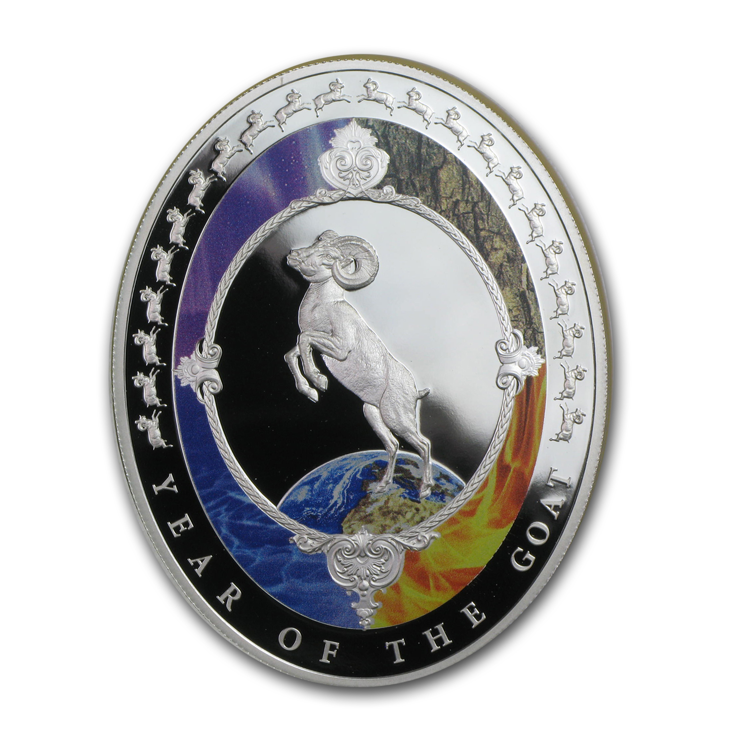 2015 1 oz Silver Year of the Goat Elements Proof (Oval)