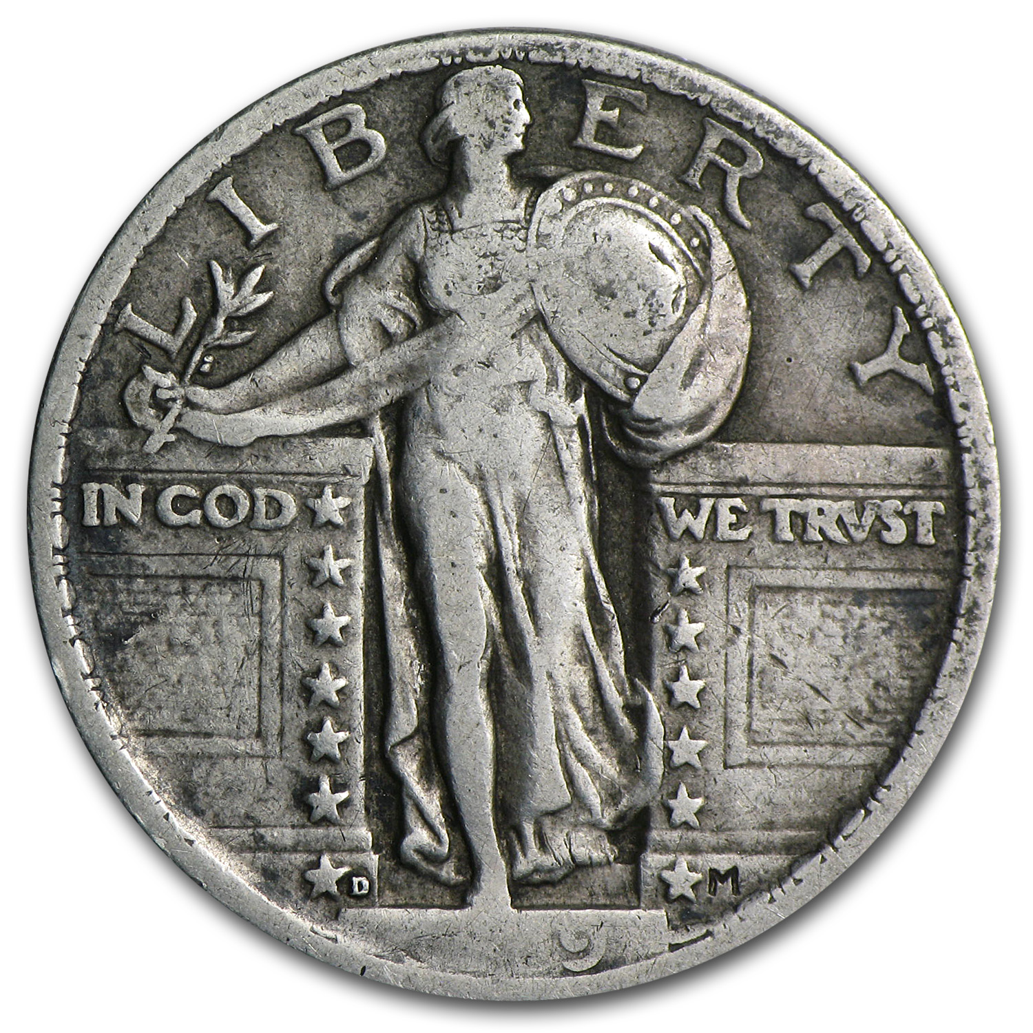 1919-D Standing Liberty Quarter Very Fine (Partial Date)