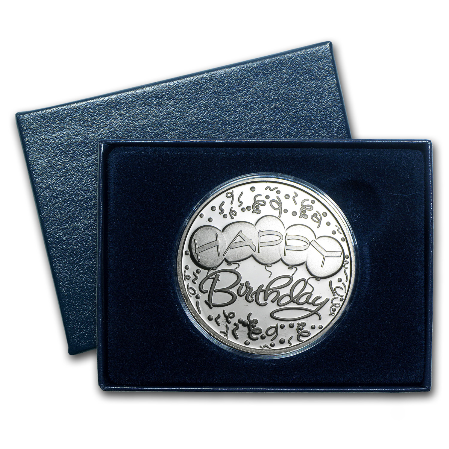1 oz Silver Rnd - 2014 Happy Birthday Balloons (w/Box & Capsule)