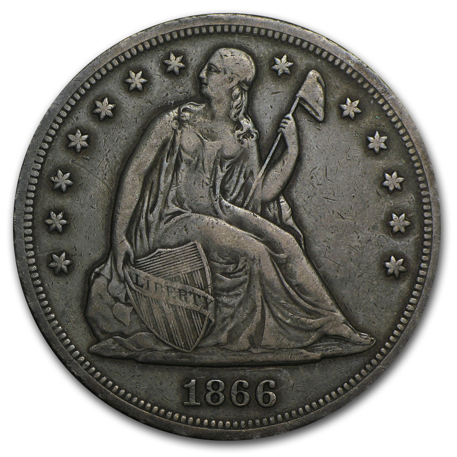 1866 Liberty Seated Dollar XF