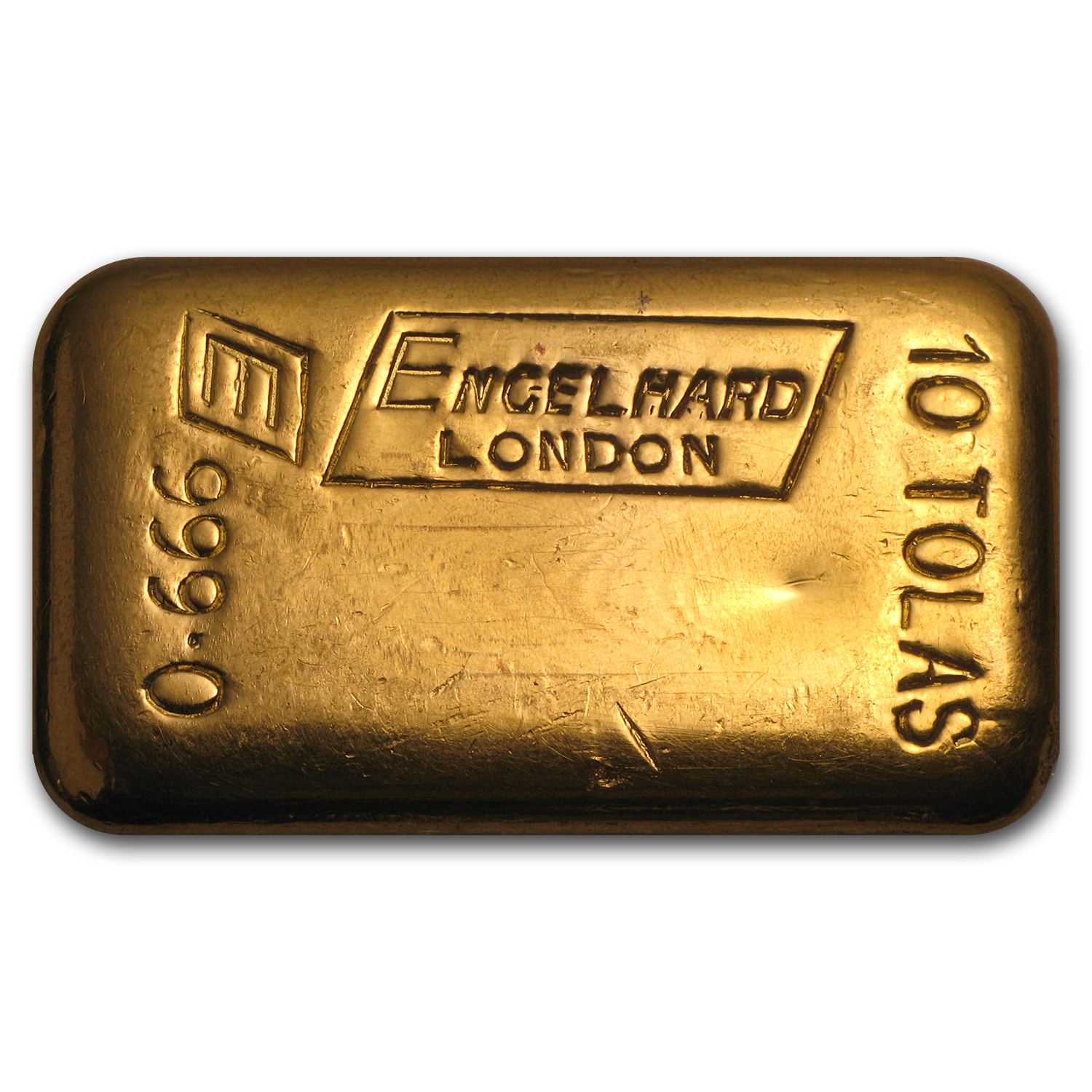 10 Tolas Gold Bar - Engelhard-London (Poured, 3.75 oz)