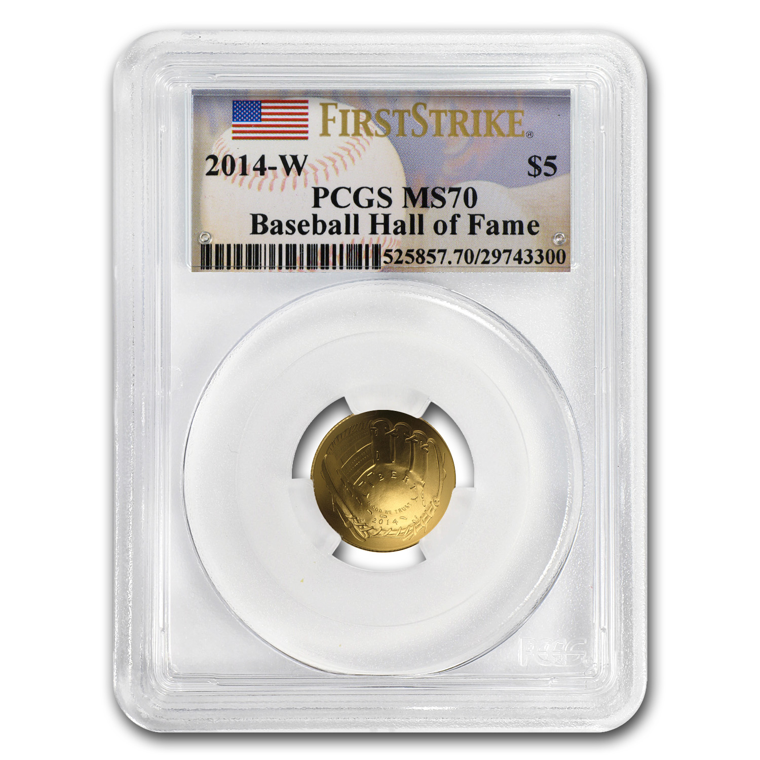2014-W Gold $5 Commem Baseball HOF MS-70 PCGS (FS)