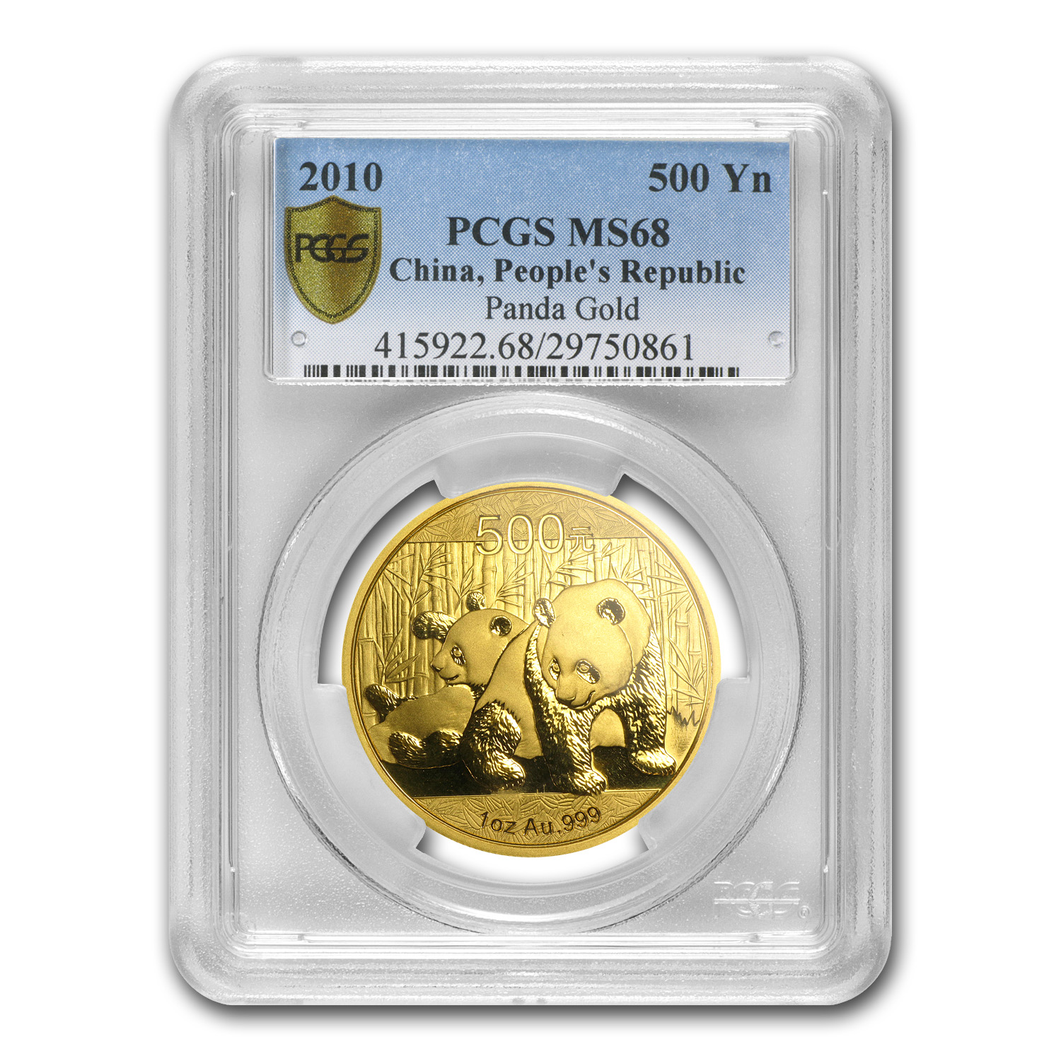 2010 China 1 oz Gold Panda MS-68 PCGS