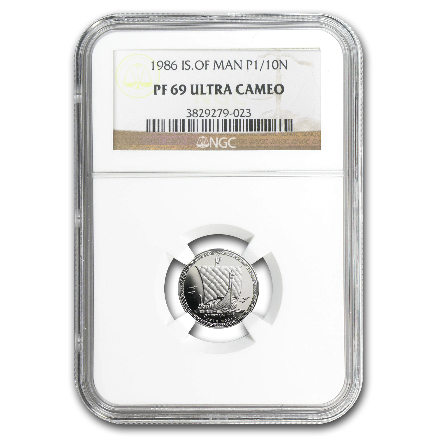 1986 1/10 oz Isle of Man Platinum Noble PF-69 UCAM NGC