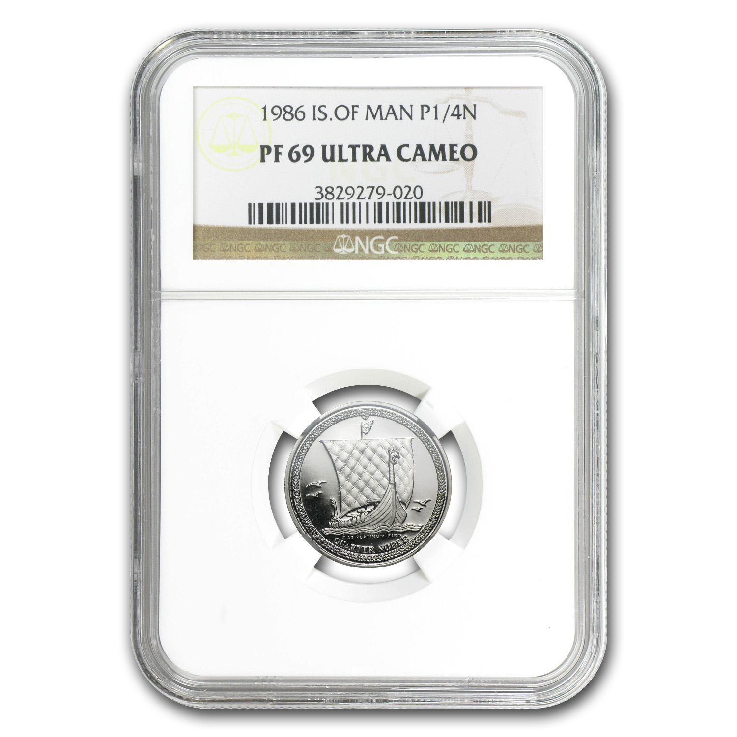 1986 1/4 oz Isle of Man Platinum Noble PF-69 UCAM NGC