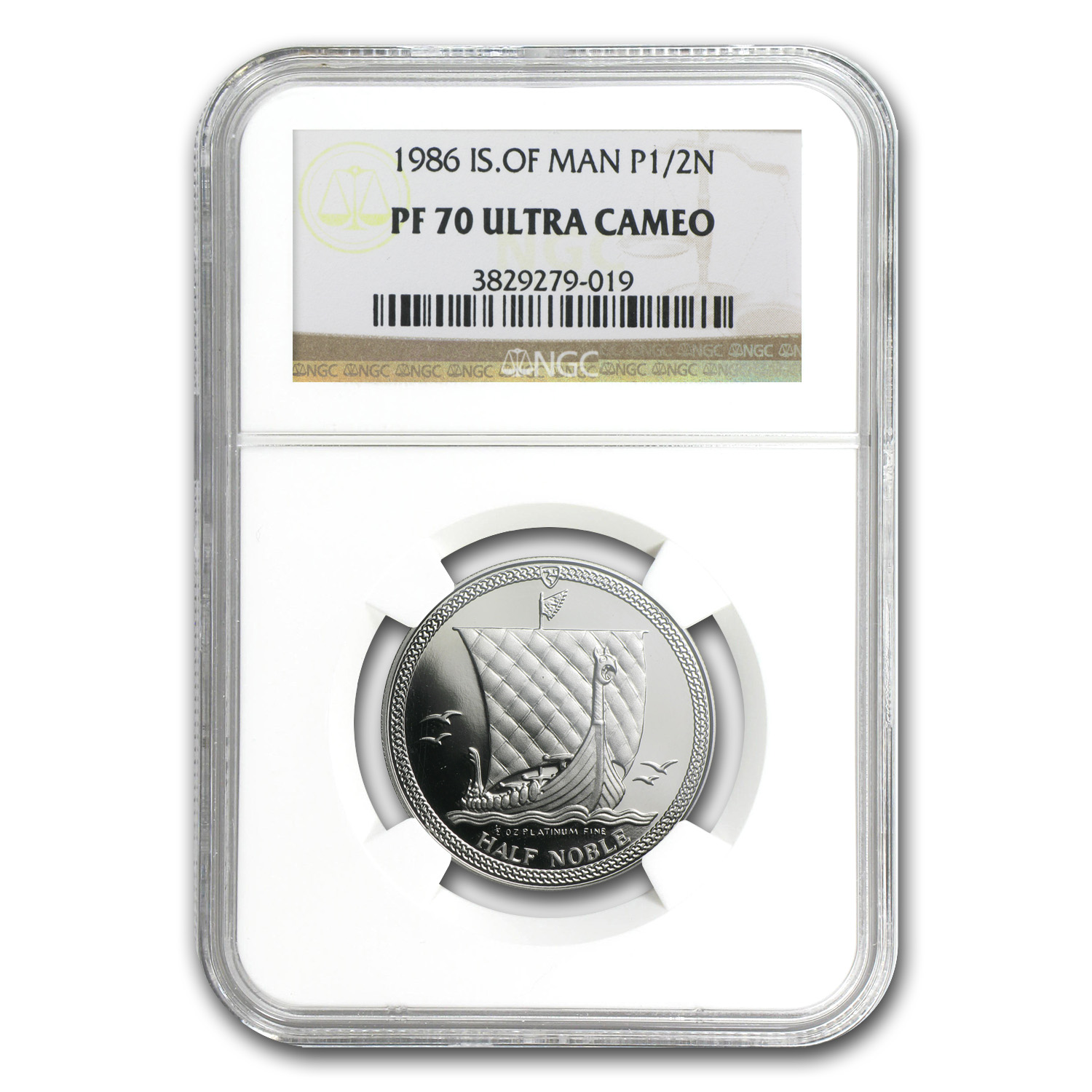 1986 1/2 oz Isle of Man Platinum Noble PF-69 UCAM NGC