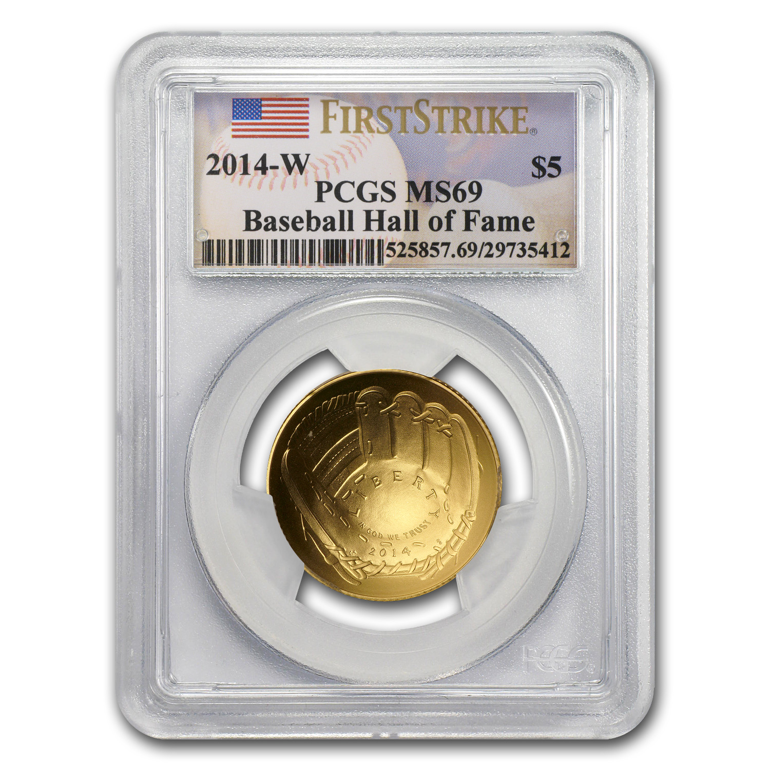 2014-W Gold $5 Commem Baseball HOF MS-69 PCGS (FS)