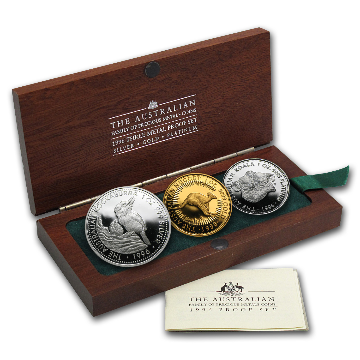1996 3-Coin Proof Australian Family of Precious Metals Set