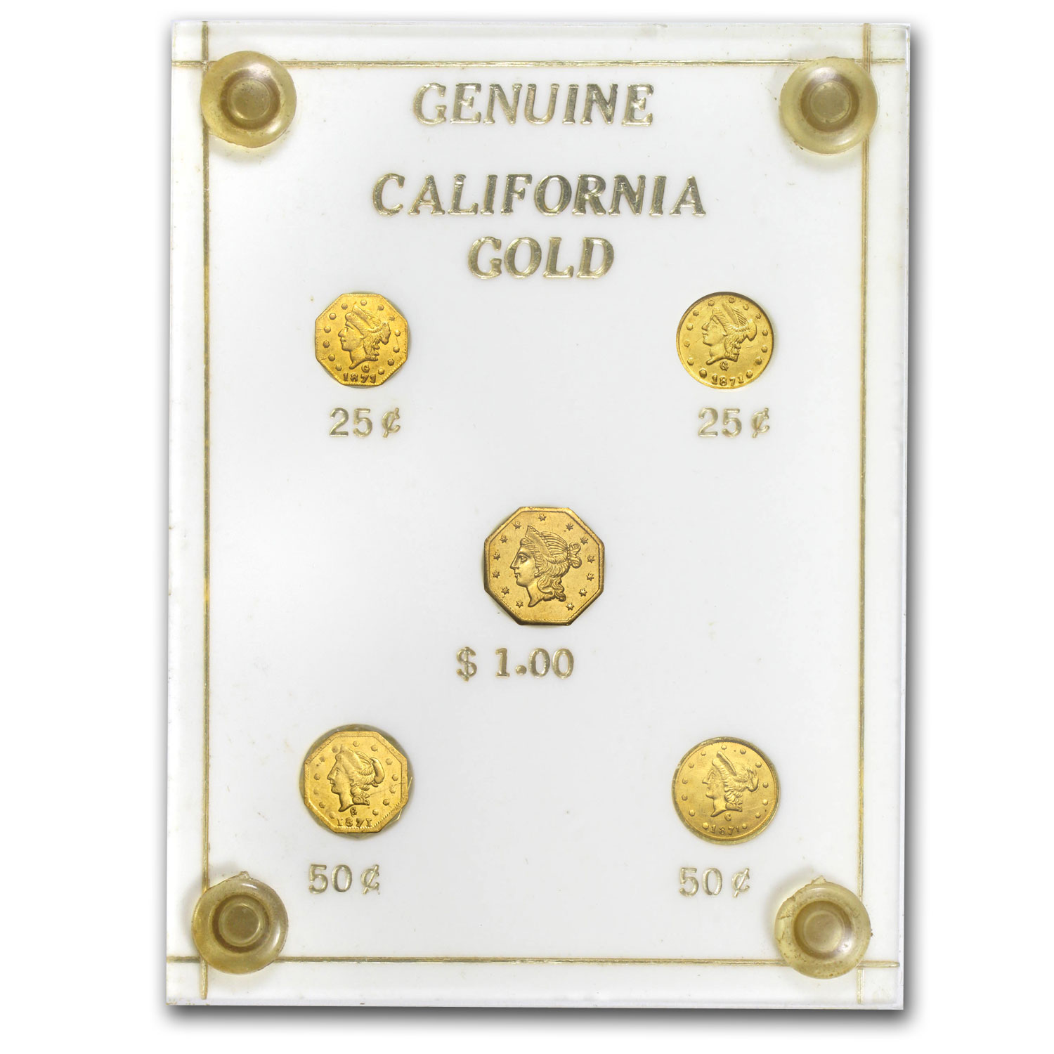 1853-1871 5 Piece California Fractional Gold Type Set AU-UNC