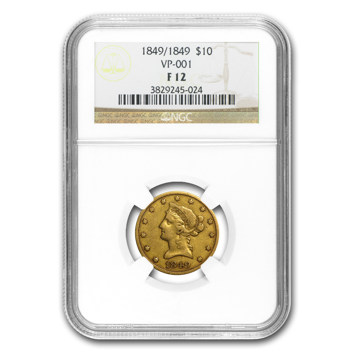 1849/1849 $10 Liberty Gold Eagle F-12 NGC