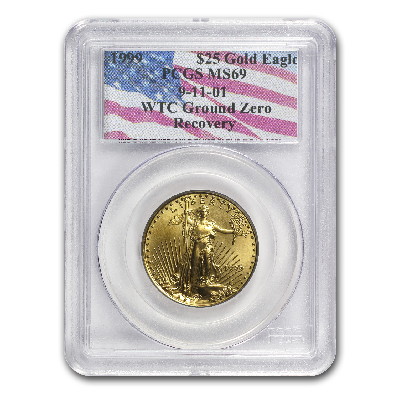 1999 1/2 oz Gold American Eagle MS-69 PCGS (World Trade Center)