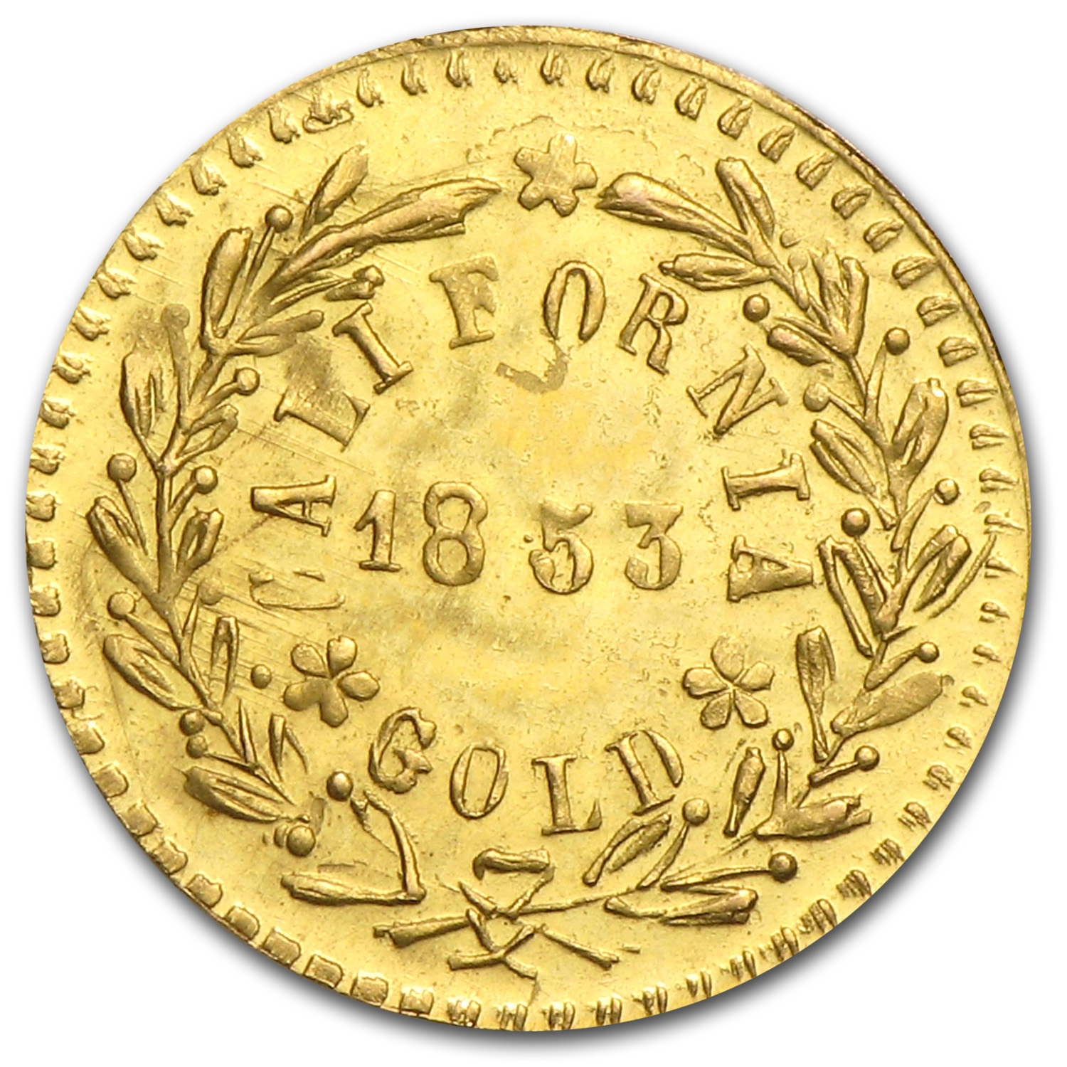 1853 Arms of California Fractional Gold Token MS-63