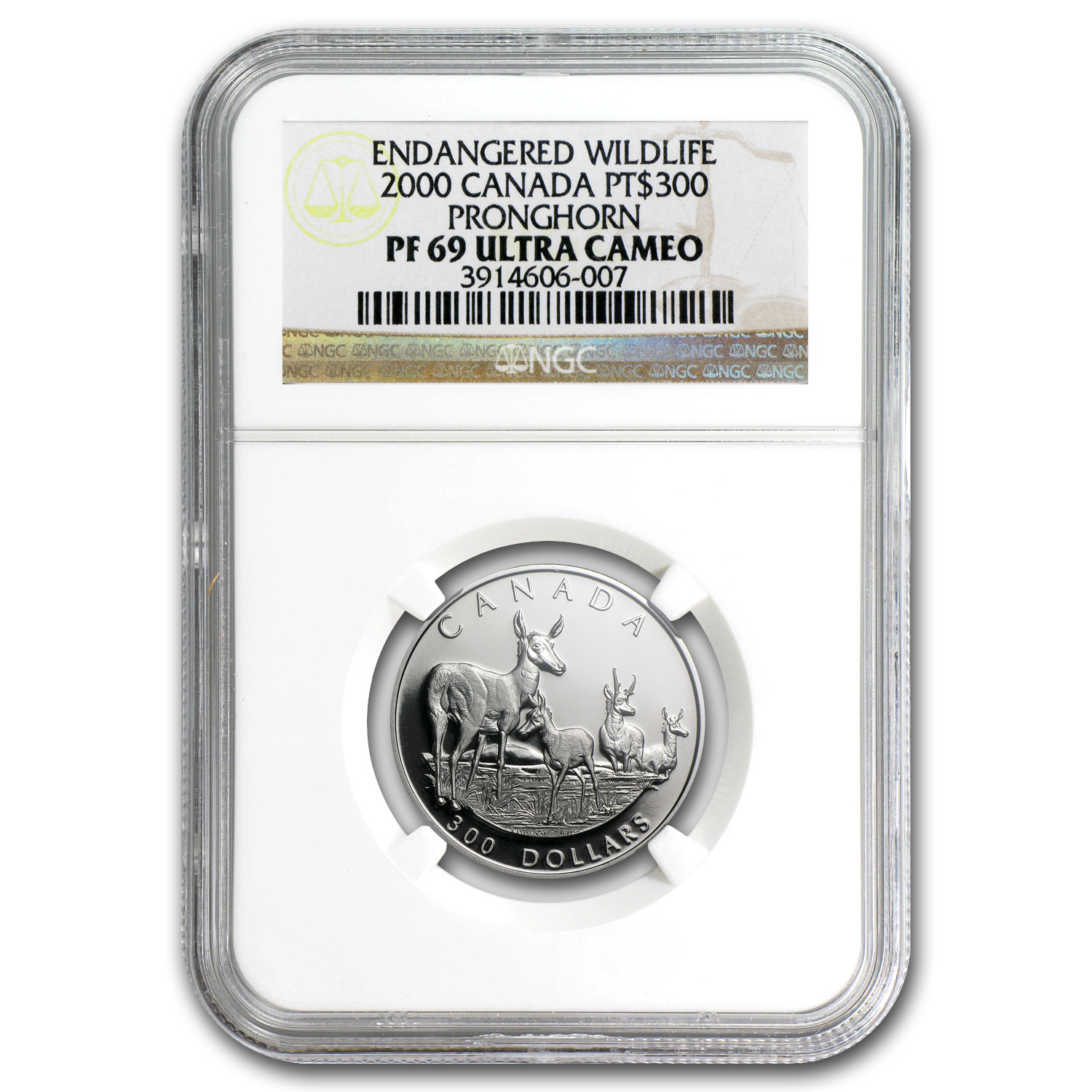 2000 1 oz Proof Platinum Canadian Pronghorn PF-69 NGC