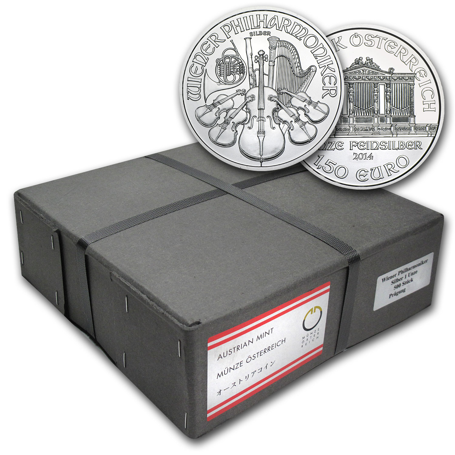 2014 1 oz Silver Austrian Philharmonics (500-Coin Box, Sealed)