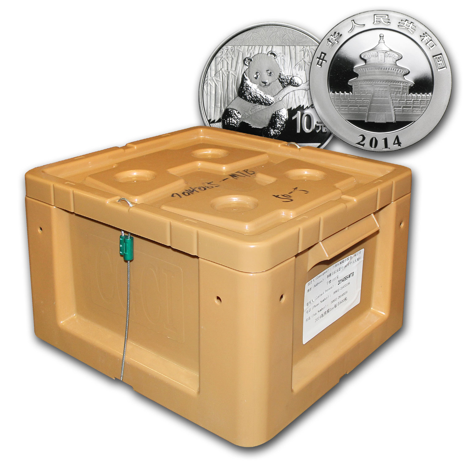 2014 1 oz Silver Chinese Panda BU (Sealed, 600-Coin Monster Box)