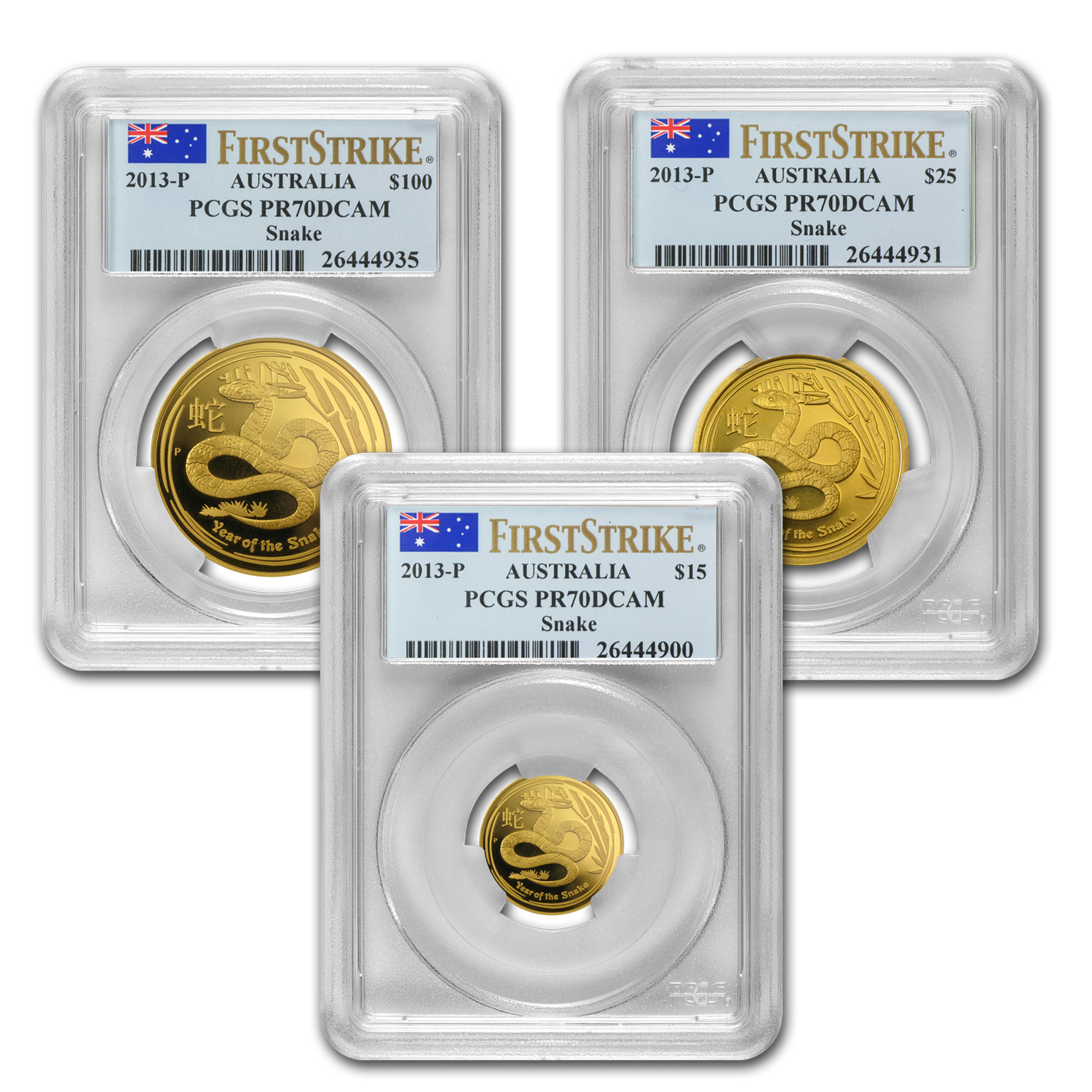 2013 3-Coin Gold Year of the Snake Proof Set PR-70 PCGS (SII, FS)