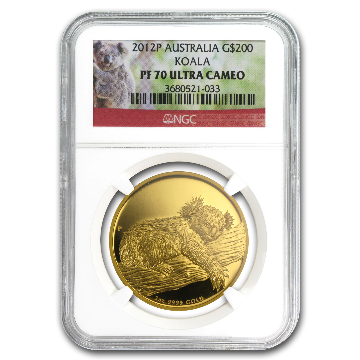 2012 2 oz Proof Australian Gold Koala PF-70 NGC