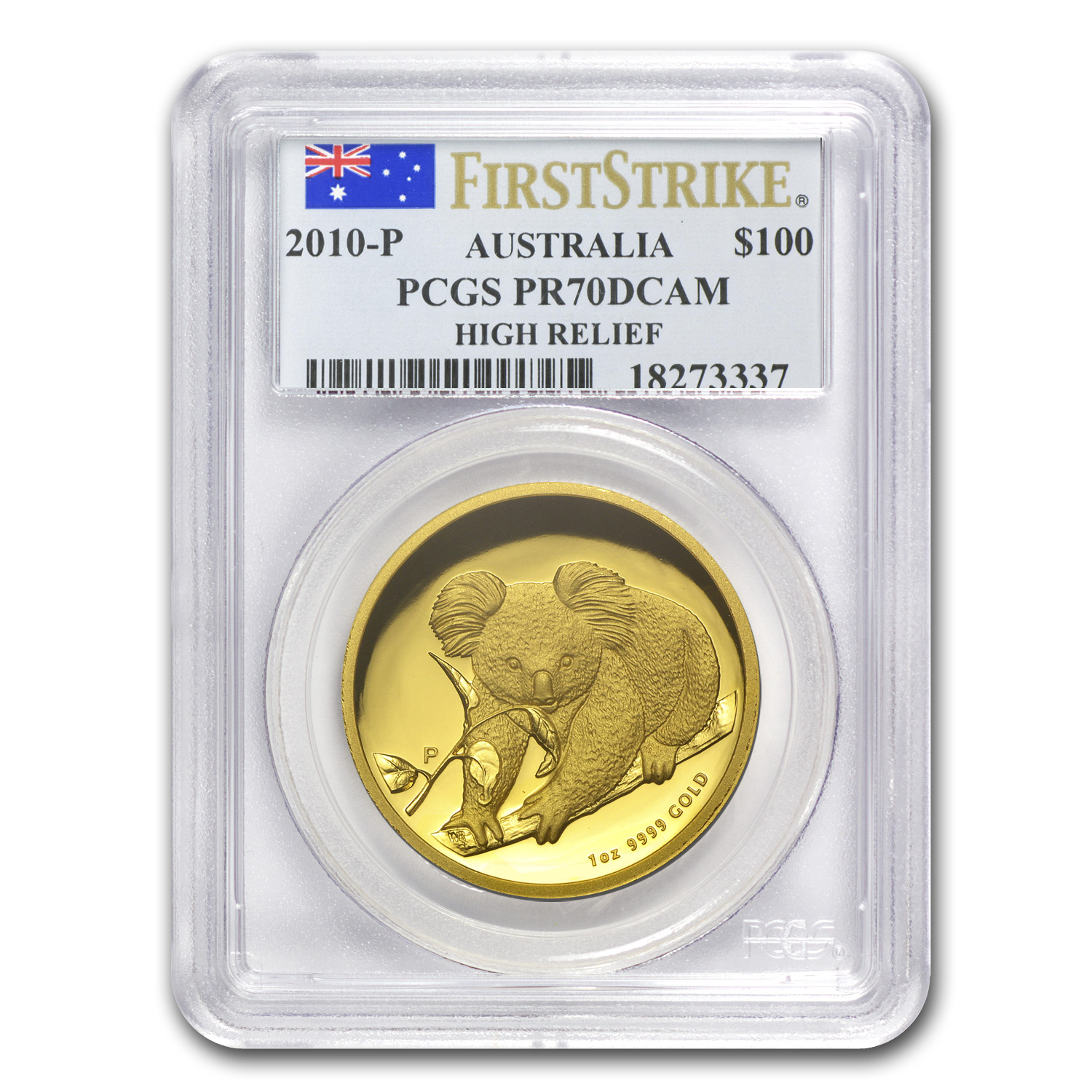 2010-P 1 oz Australian Gold Koala PR-70 PCGS (FS, High Relief)