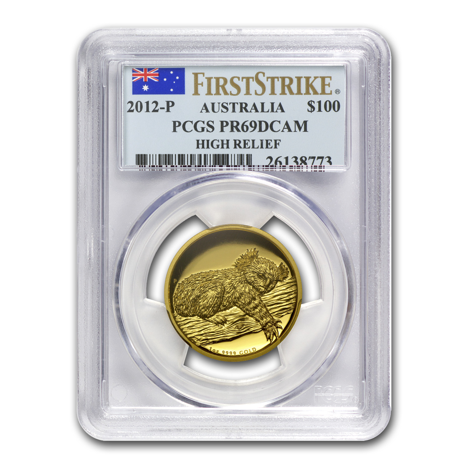 2012-P Australia 1 oz Gold Koala PR-69 PCGS (FS, High Relief)